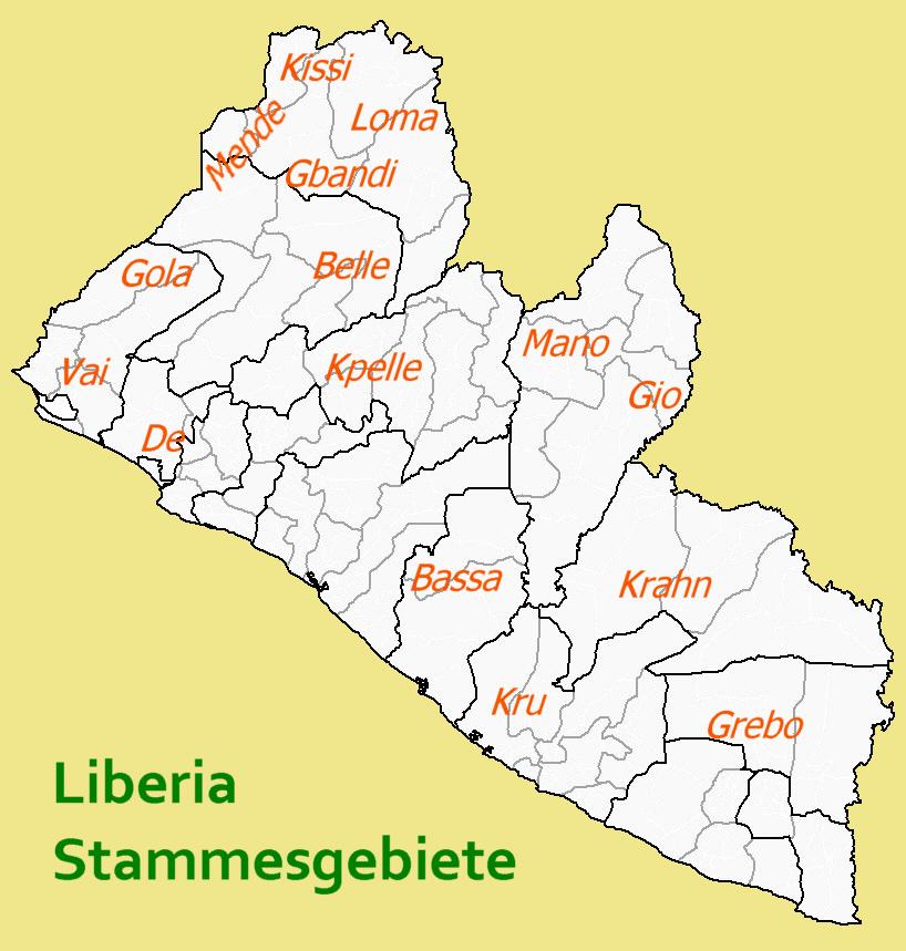 Map of Liberia (Map Tribes) : Worldofmaps.net - online Maps ...