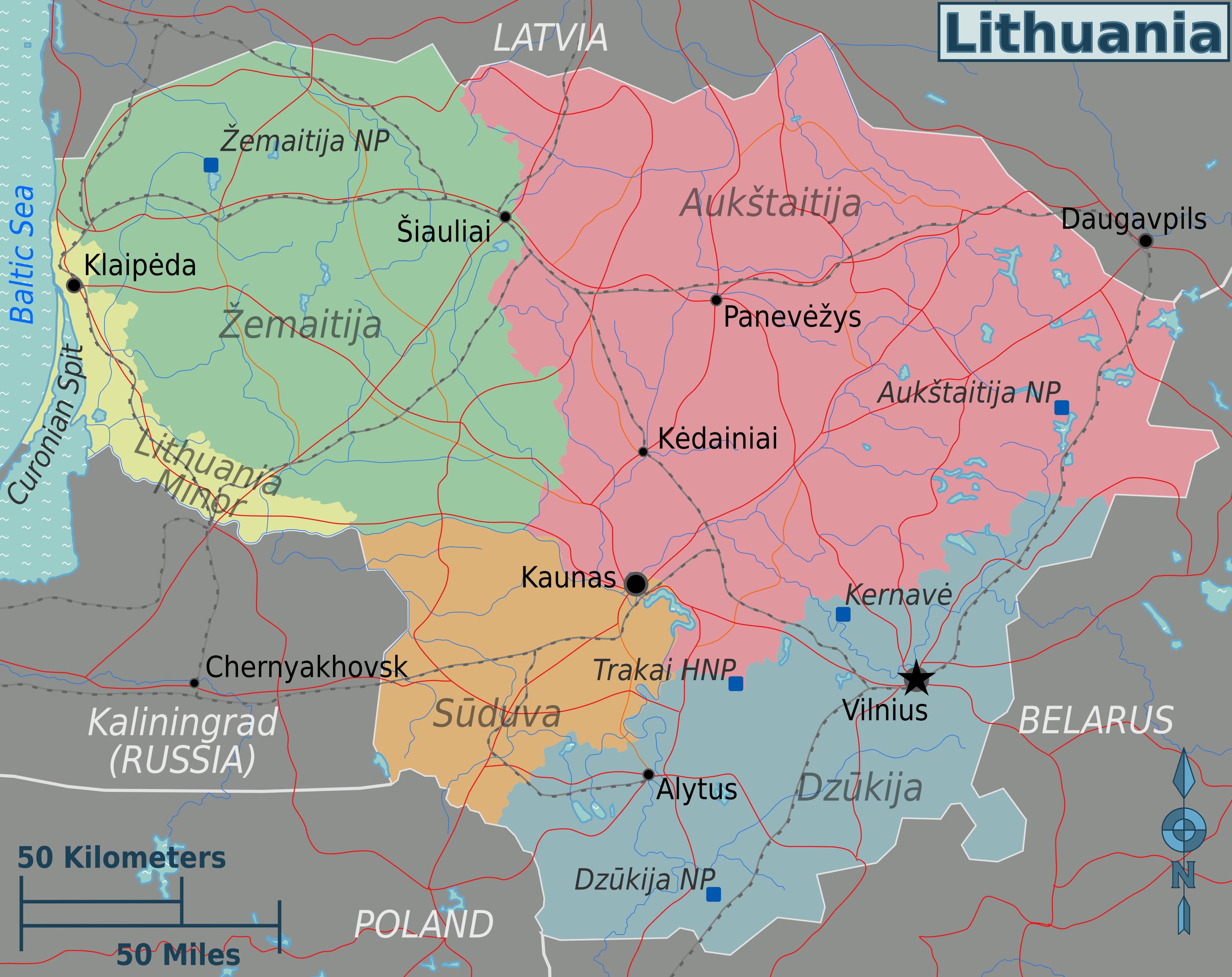 Map of Lithuania (Map Regions) : Worldofmaps.net - online ...