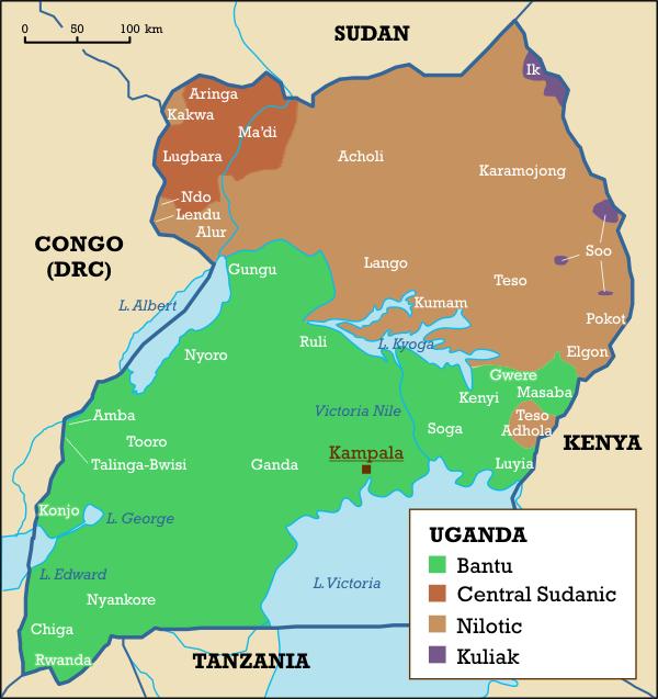 Map of Uganda (Map of Local Languages) : Worldofmaps.net ...