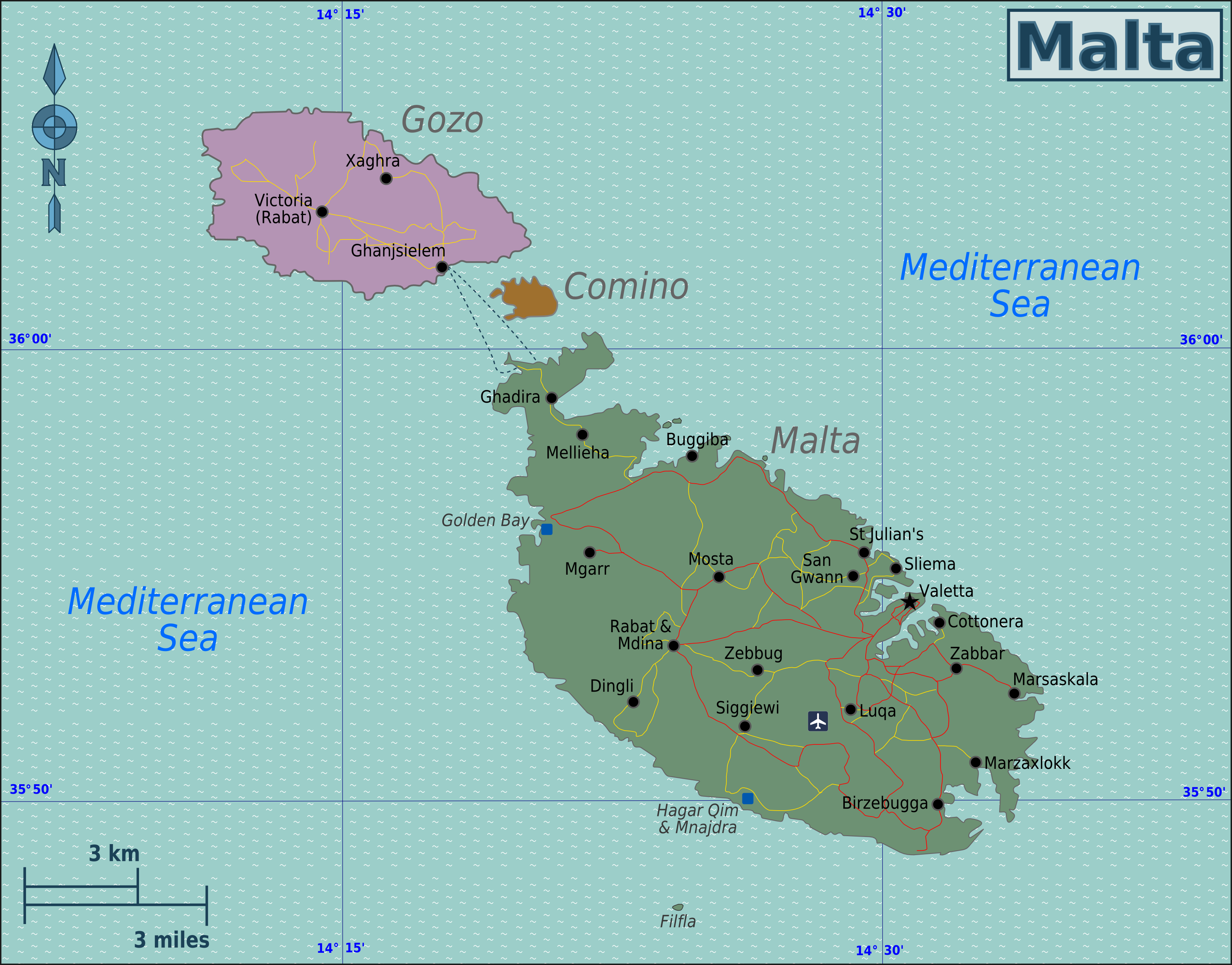 Map of Malta (Overview Map) : Worldofmaps.net - online Maps ...