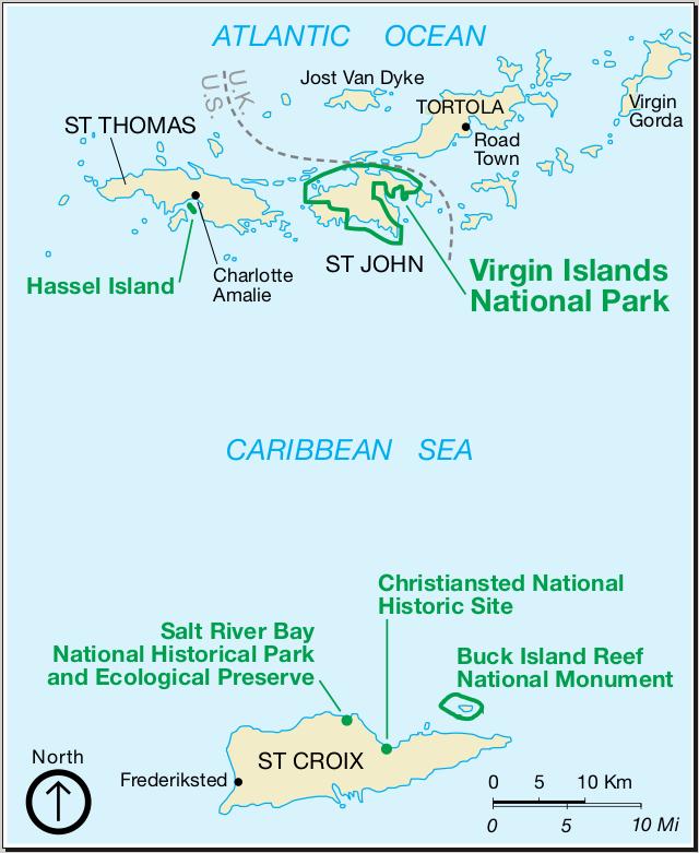 Map of U.S. Virgin Islands (National Parks) : Worldofmaps.net ...