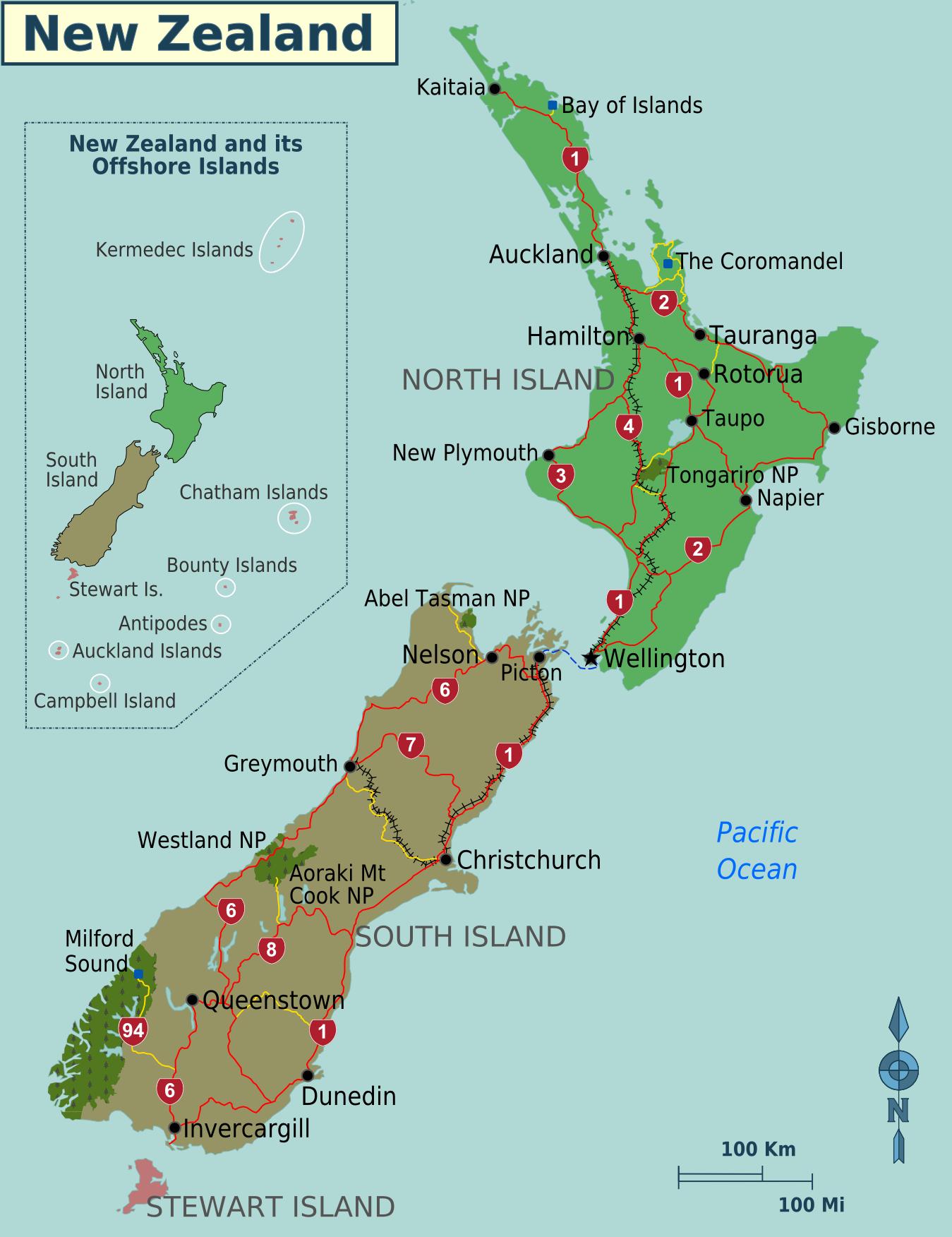 Map Of New Zealand Regions Weltkarte Com Karten Und
