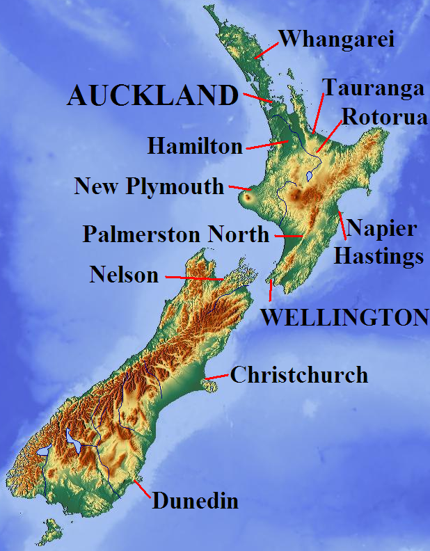 Map of New Zealand (Map Cities) : Worldofmaps.net - online Maps and ...