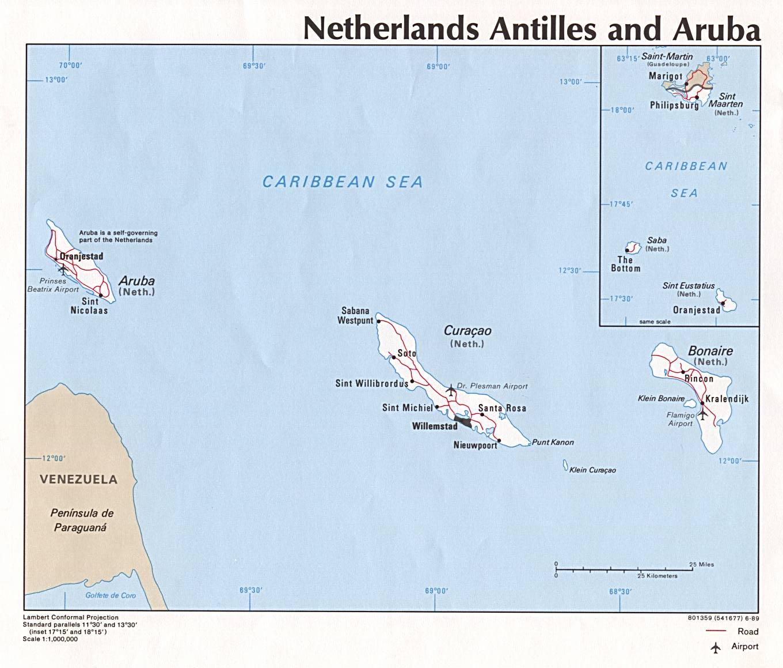 Map Of Former Dutch Antilles Weltkarte Com Karten Und
