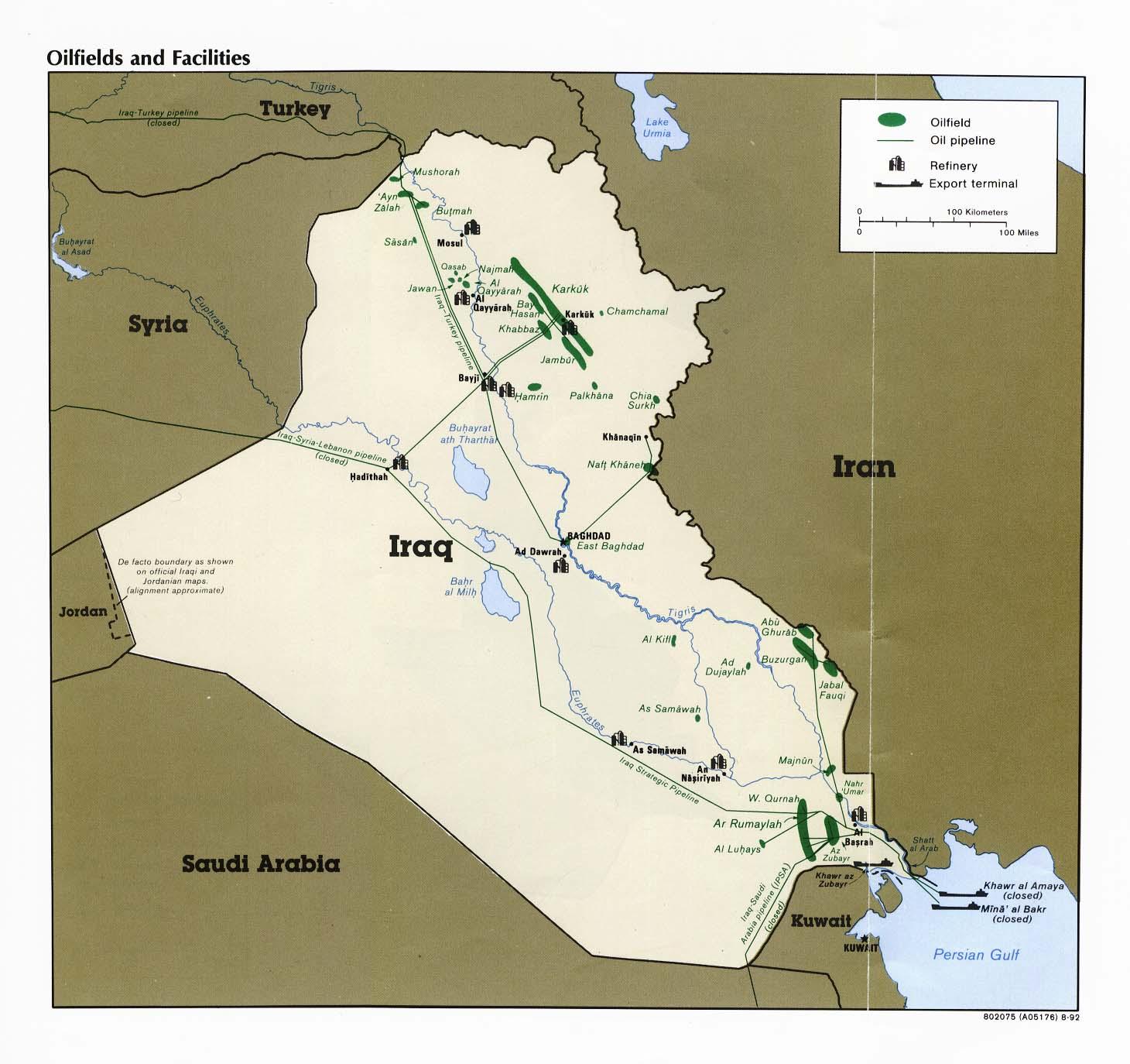Map of Iraq (Map of Oil Fields) : Weltkarte.com - Karten und ...