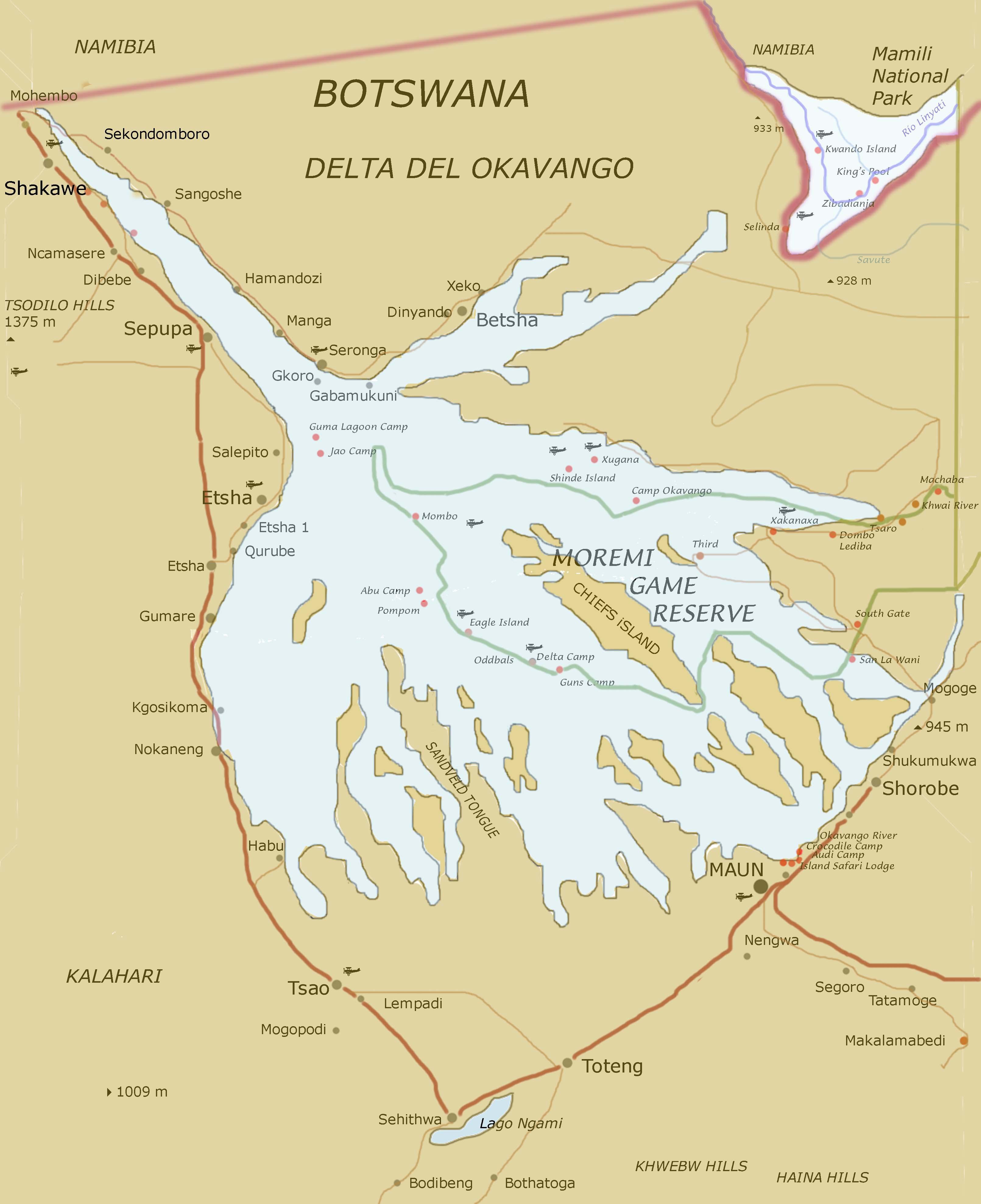 botswana karte Map of Botswana (Map of Okavango Delta) : Worldofmaps.  online