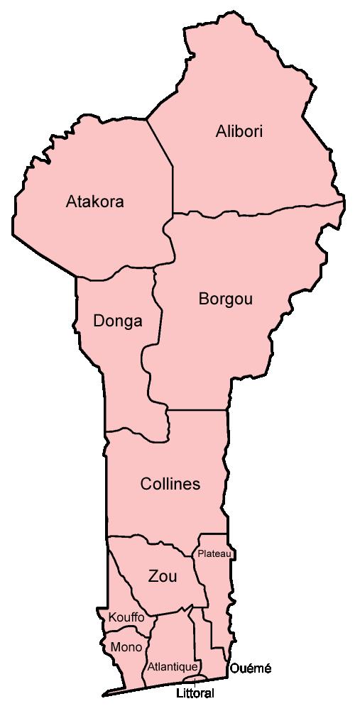 Map of Benin (Provinces/Department) : Weltkarte.com - Karten und ...