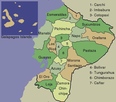 Kartoonkarte Von Ecuador Und Galapagos Inseln Stock
