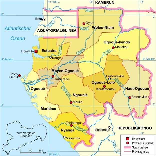 Map of Gabon Map Provinces German Worldofmapsnet online