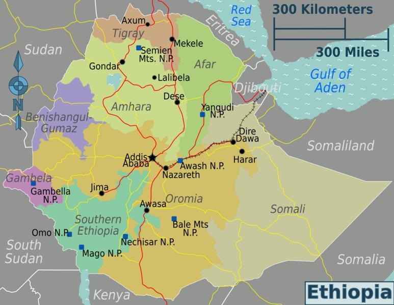 Map of Ethiopia (Map Regions) : Weltkarte.com - Karten und ...