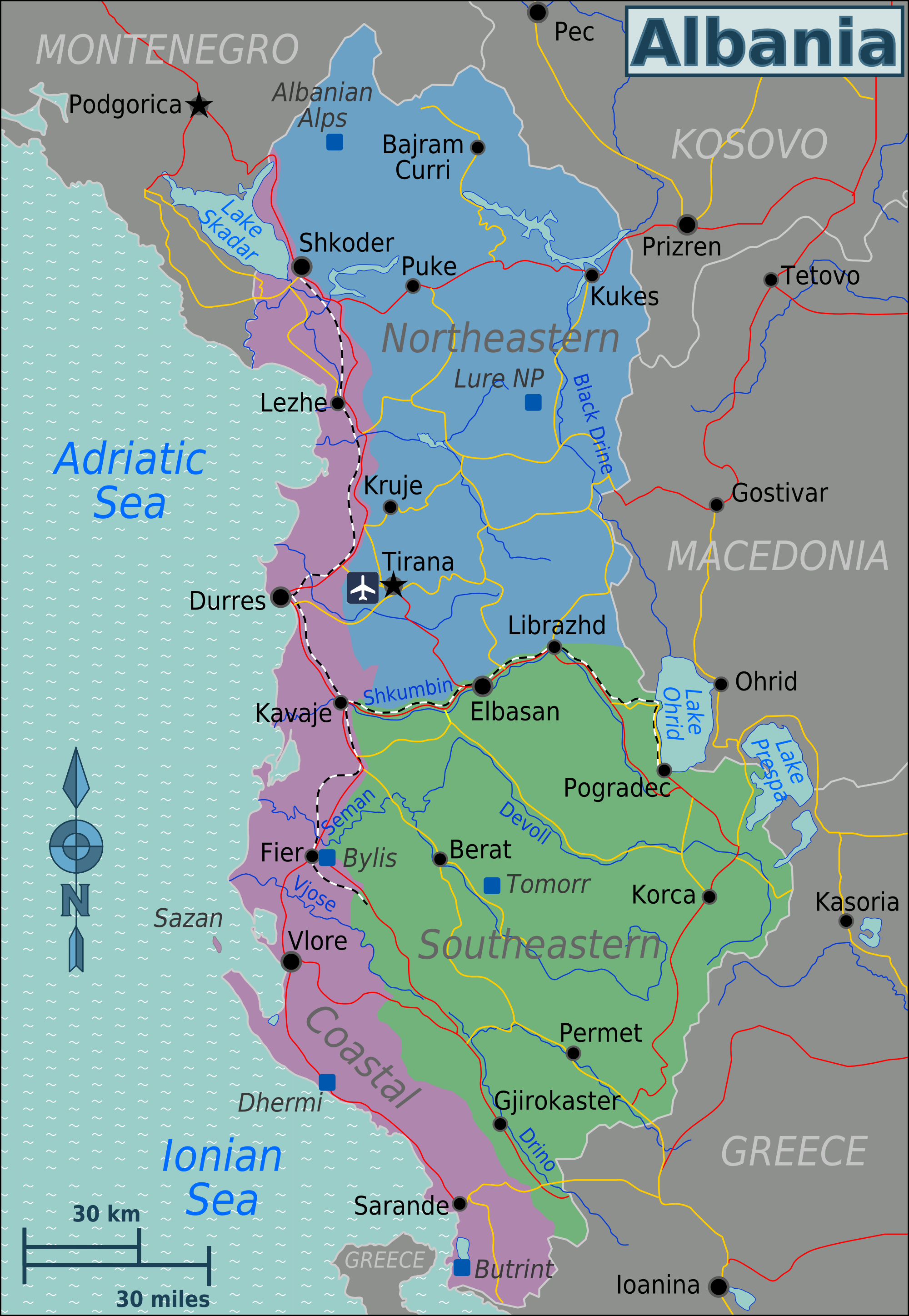 Region S Karte.Map Of Albania Map Regions Worldofmaps Net Online Maps And