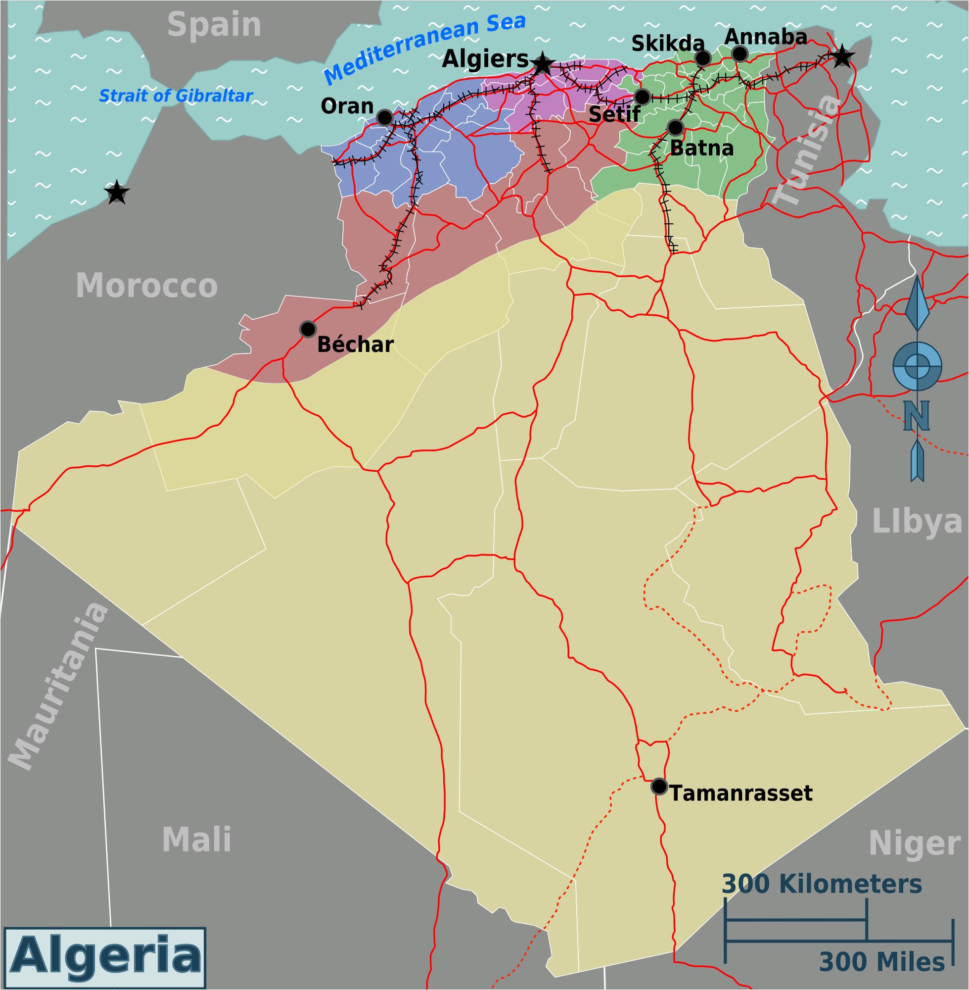 Map of Algeria (Overview Map/Regions) : Weltkarte.com ...