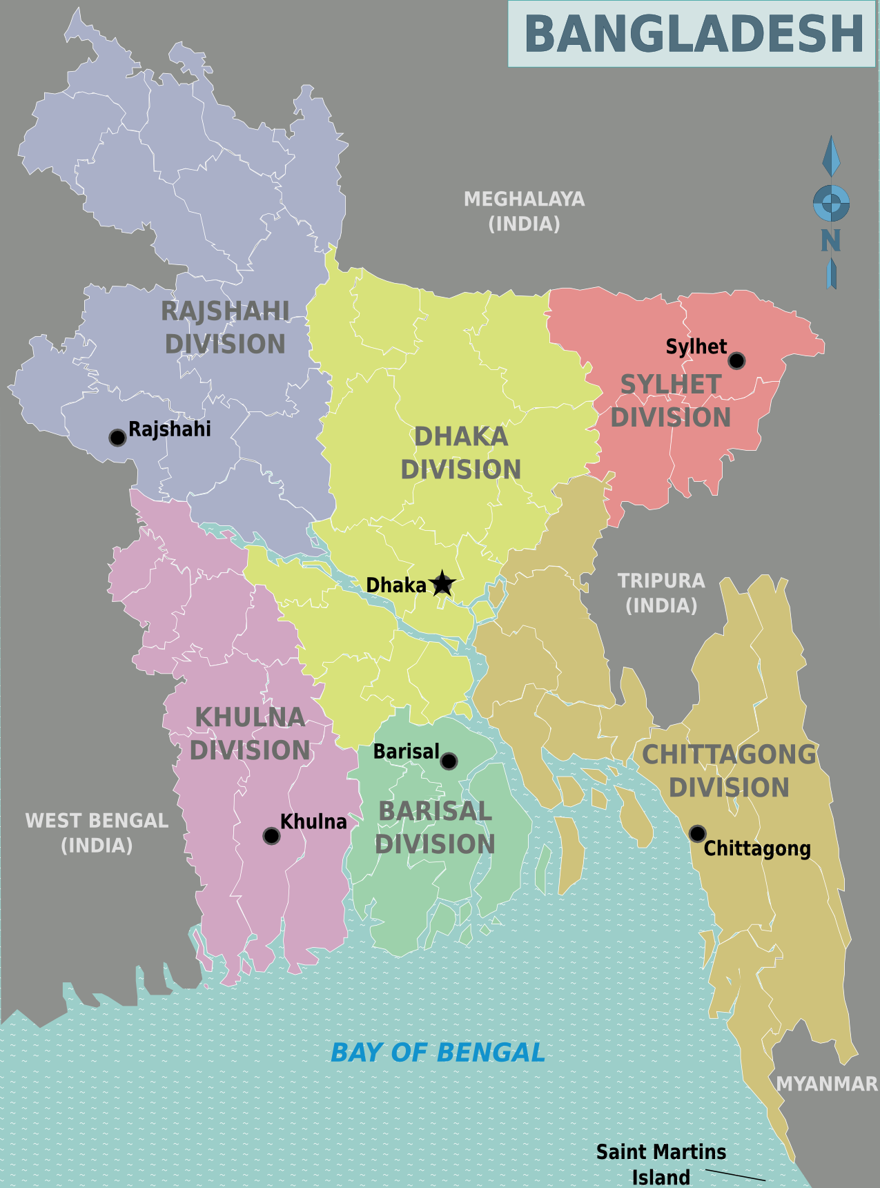 Map of Bangladesh (Map Regions) : Weltkarte.com - Karten und ...