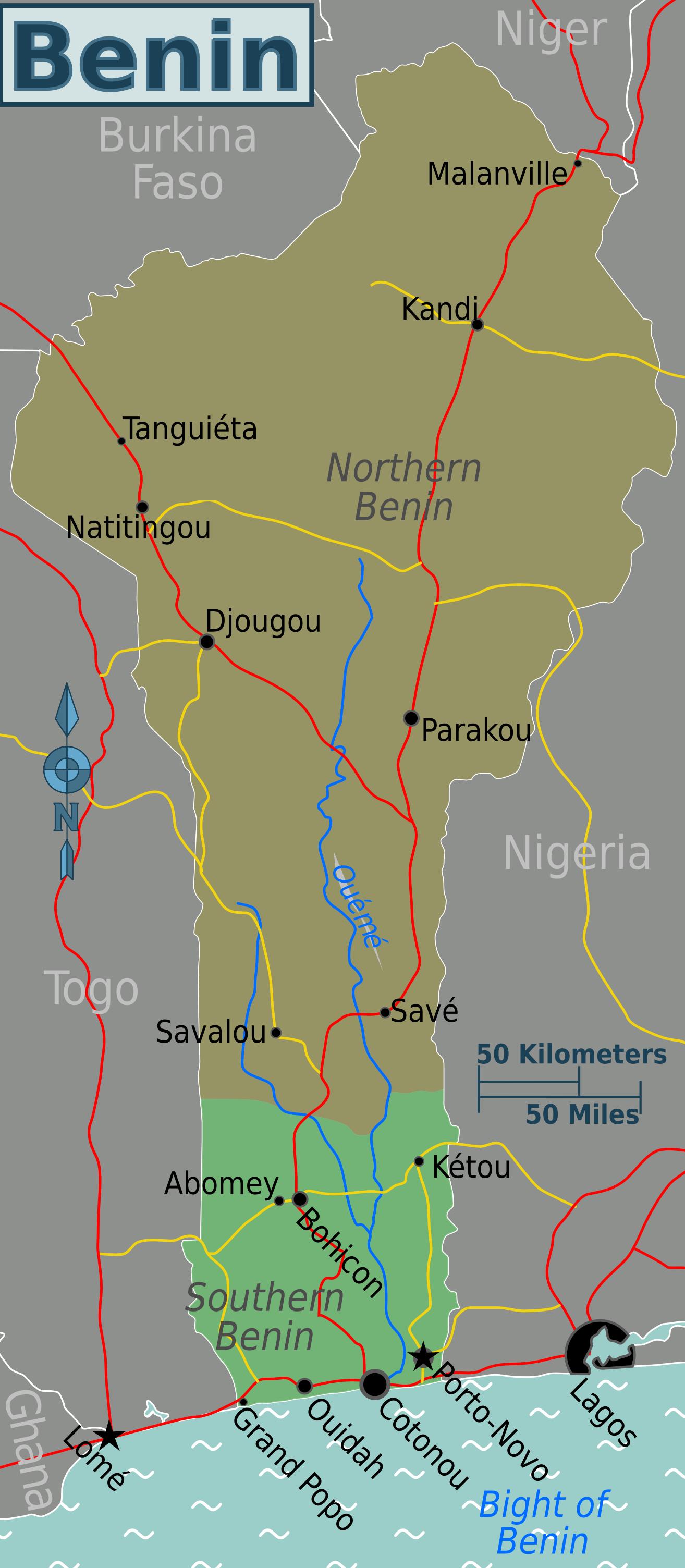 Map of Benin (Regions) : Weltkarte.com - Karten und Stadtpläne der Welt