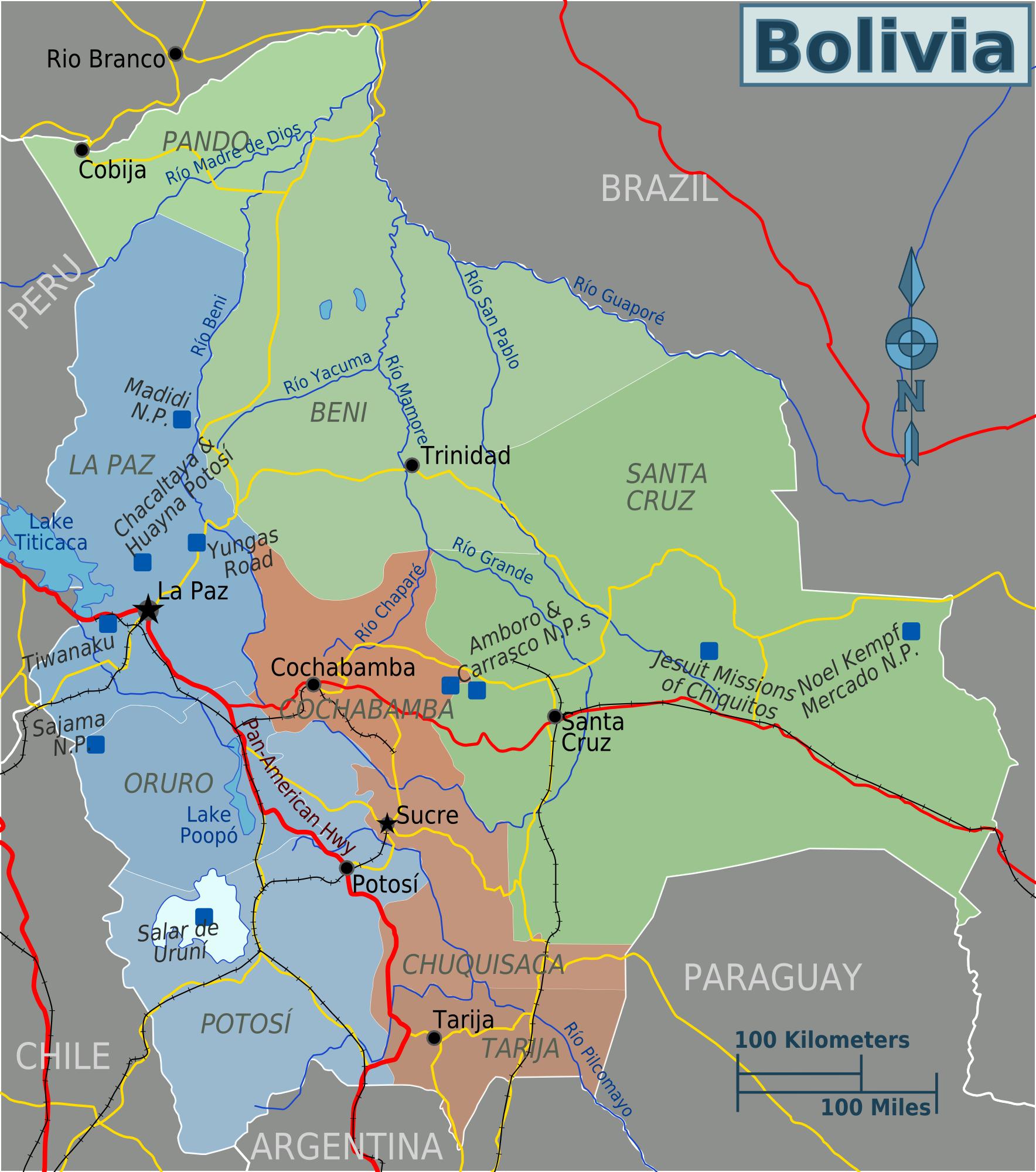 Map of Bolivia (Regions) : Worldofmaps.net - online Maps and Travel ...