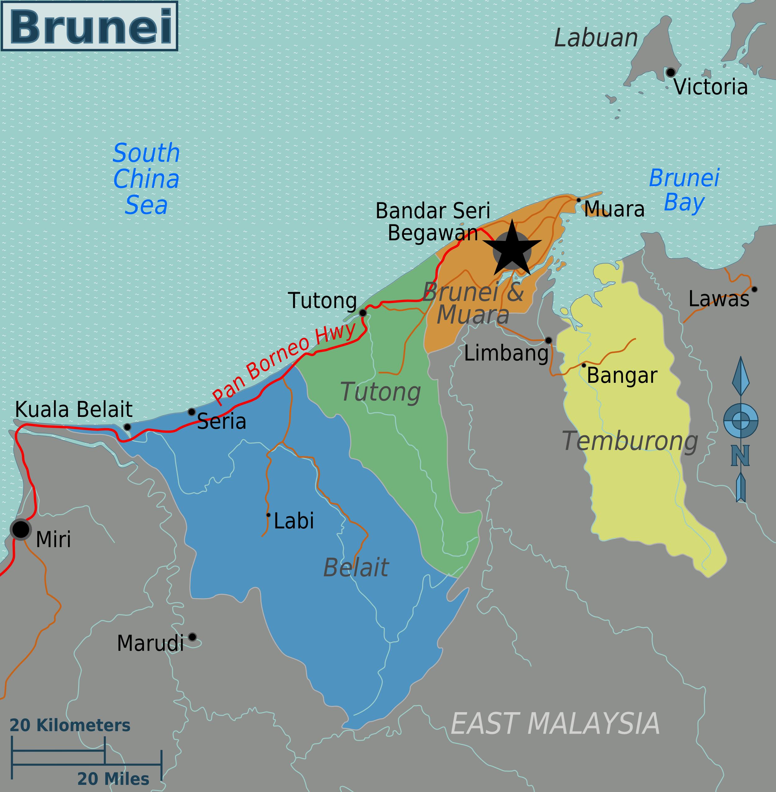 Region S Karte.Map Of Brunei Map Regions Worldofmaps Net Online Maps And