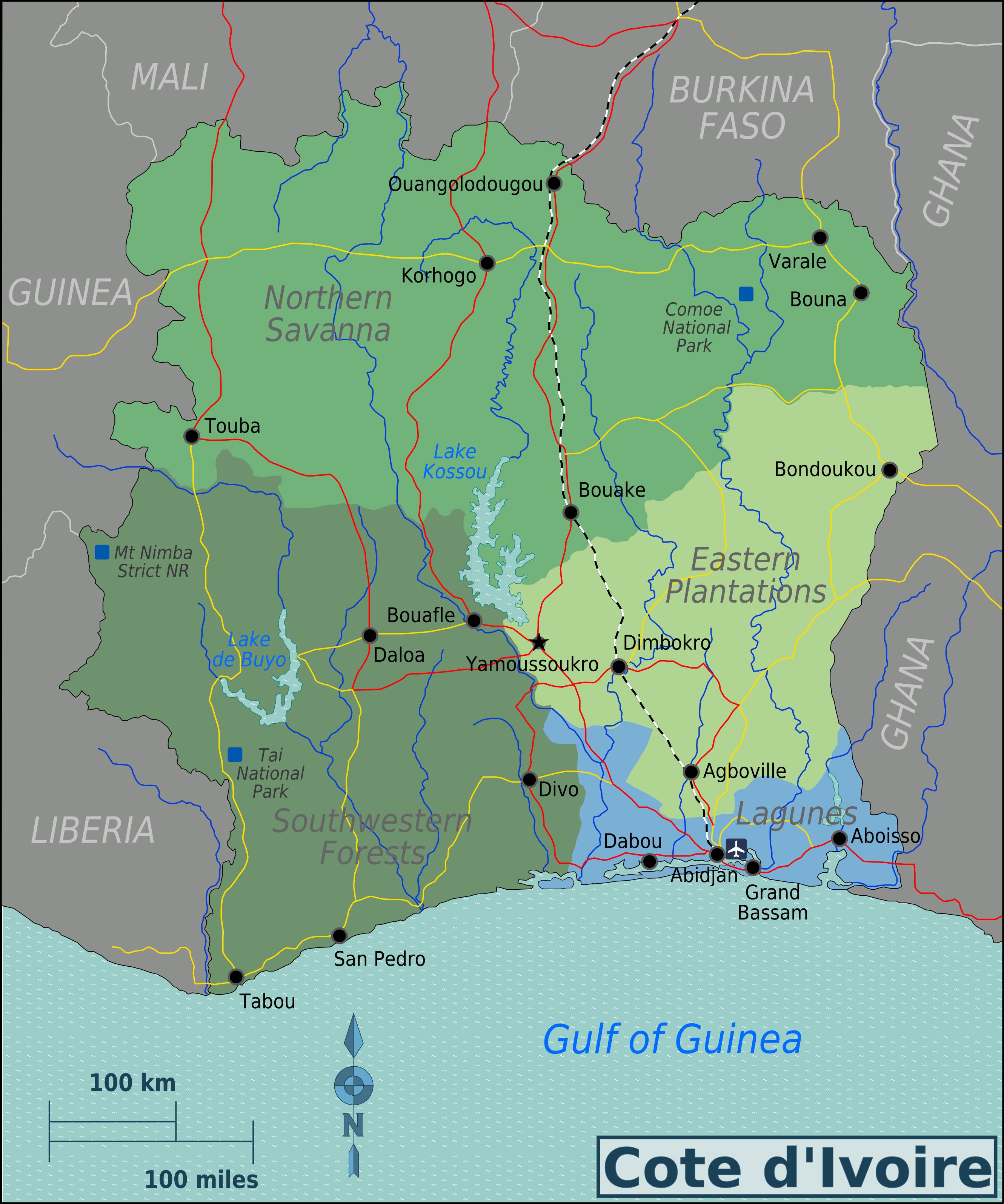 Map of Ivory Coast (Map Regions) : Worldofmaps.net - online Maps and ...
