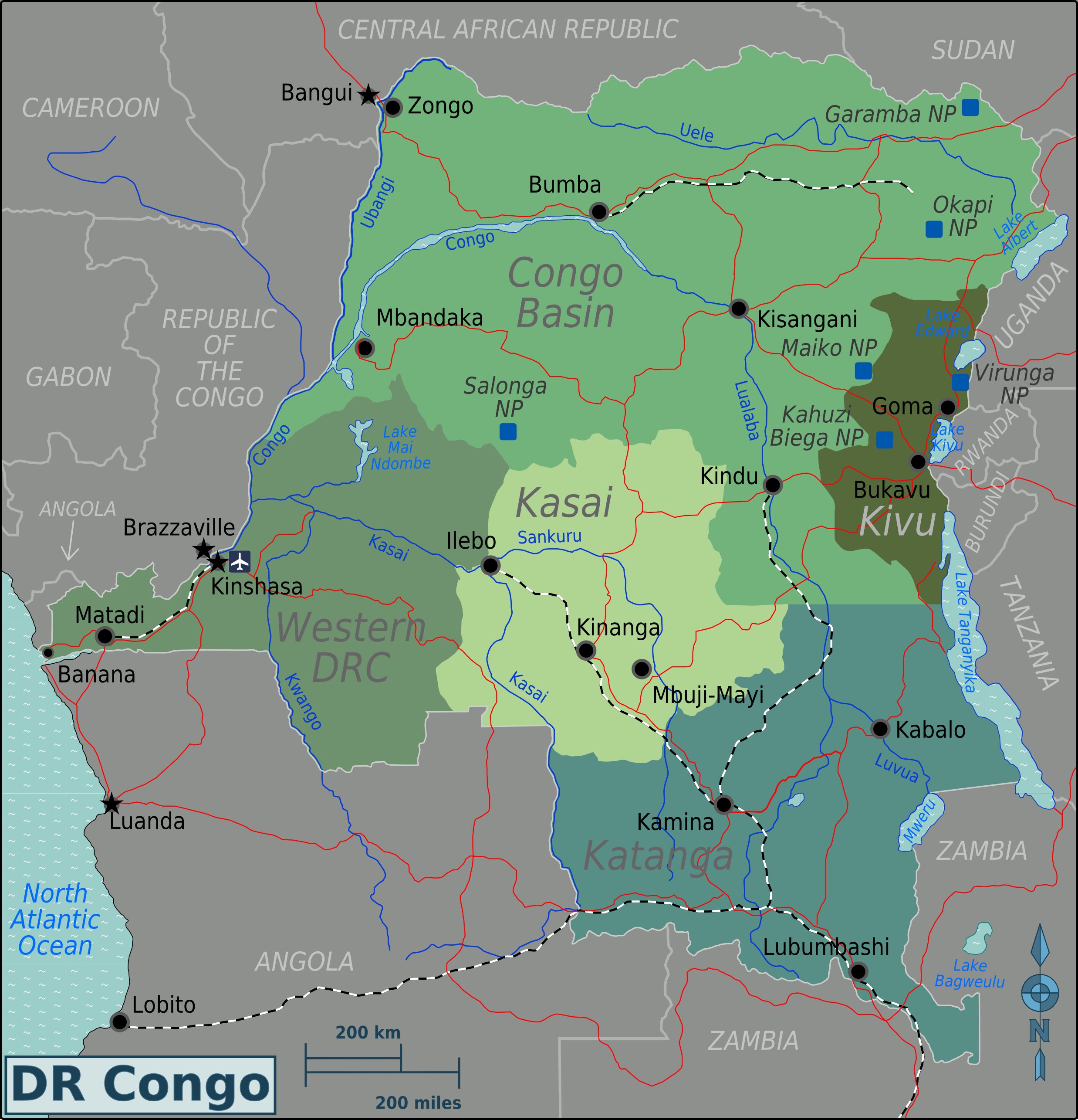 Map of Democratic Republic Congo (Regions) : Weltkarte.com - Karten ...