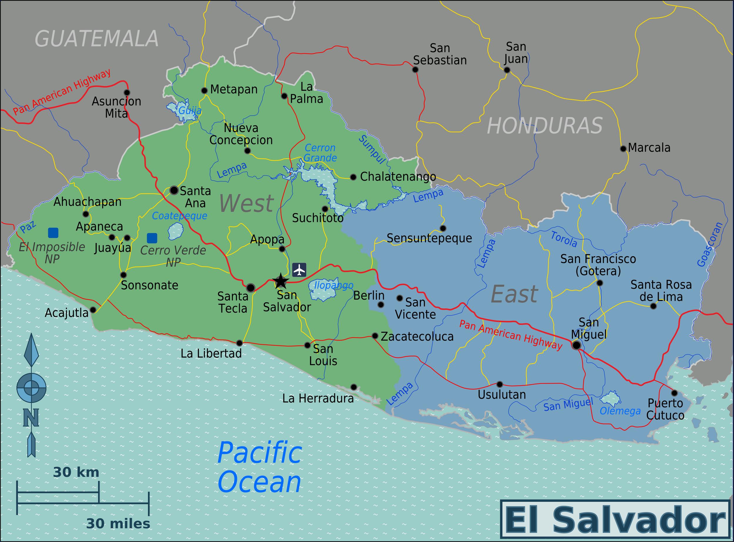 Map of El Salvador (Map Regions) : Worldofmaps.net - online Maps and ...