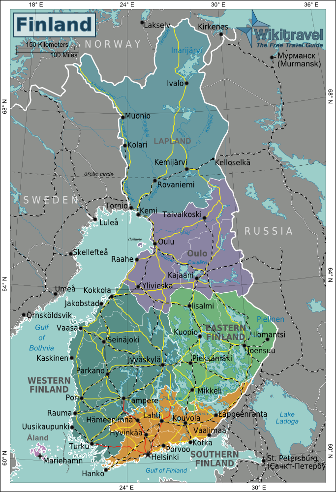 Map of Finland (Map Regions) : Worldofmaps.net - online Maps and Travel Information