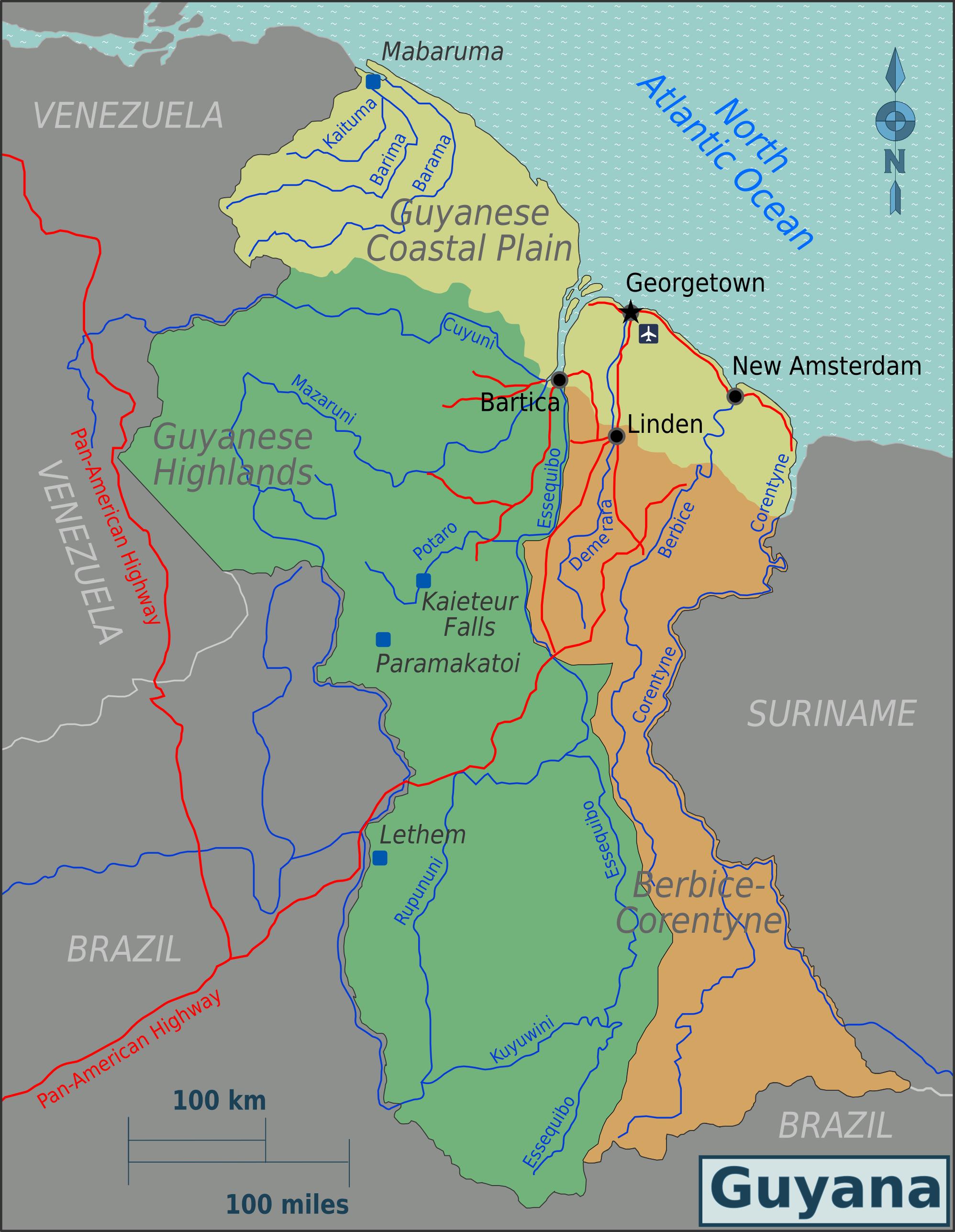 Map of Guyana (Map Regions) : Weltkarte.com - Karten und Stadtpläne ...