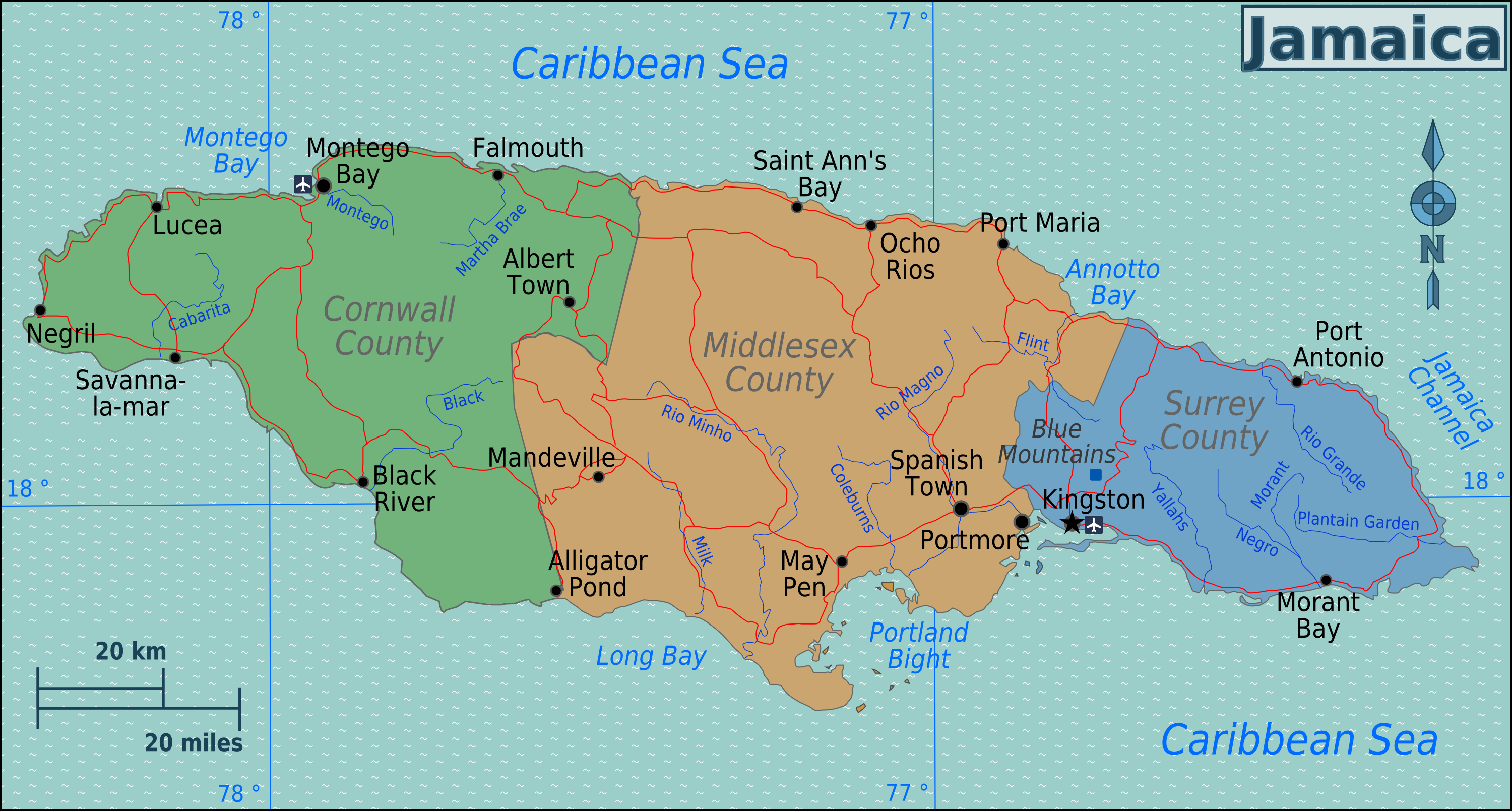 Map of Jamaica (Overview Map/Regions) : Worldofmaps.net - online ...