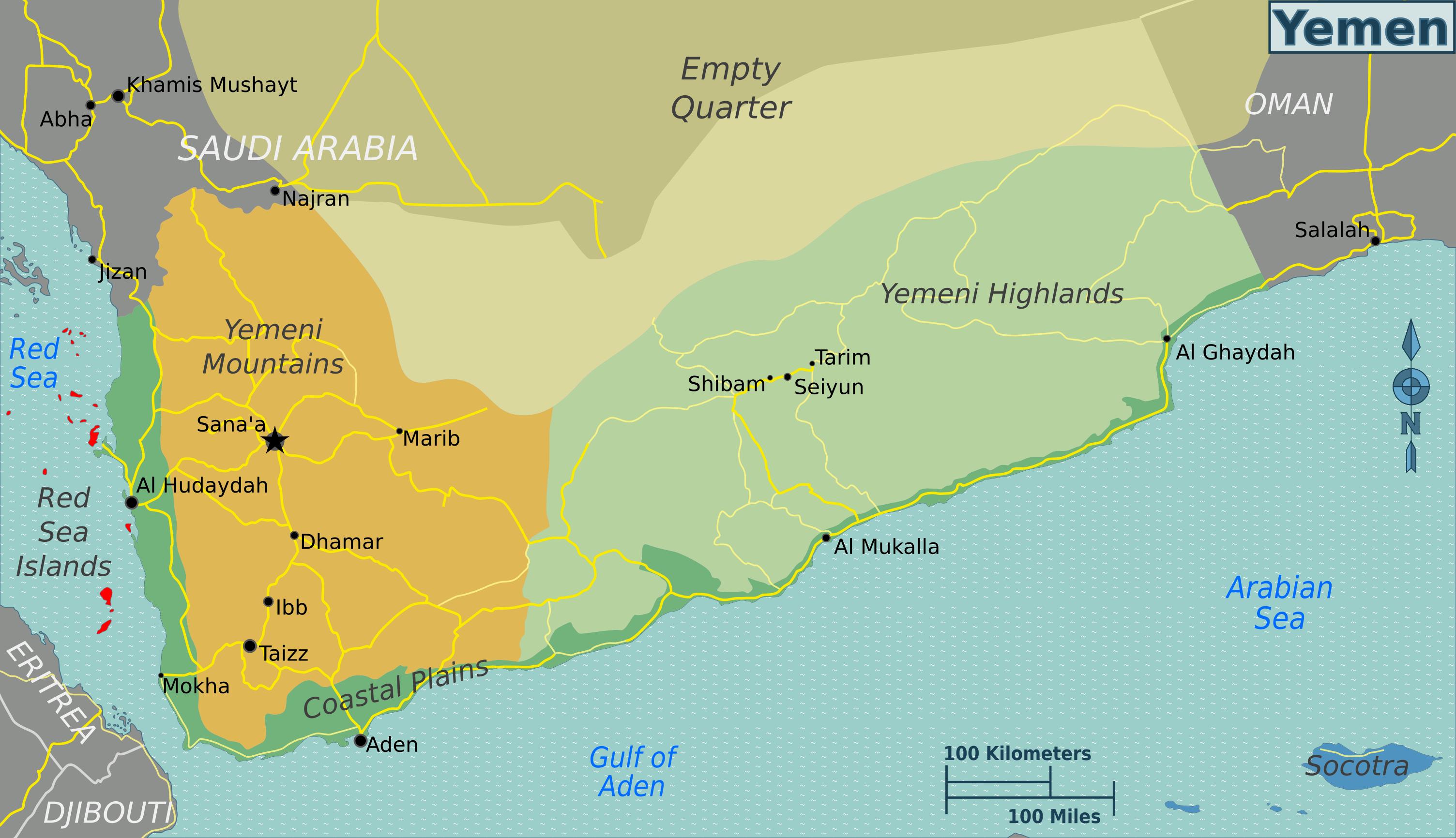 Map Of Yemen Regions Weltkarte Com Karten Und Stadtplane Der