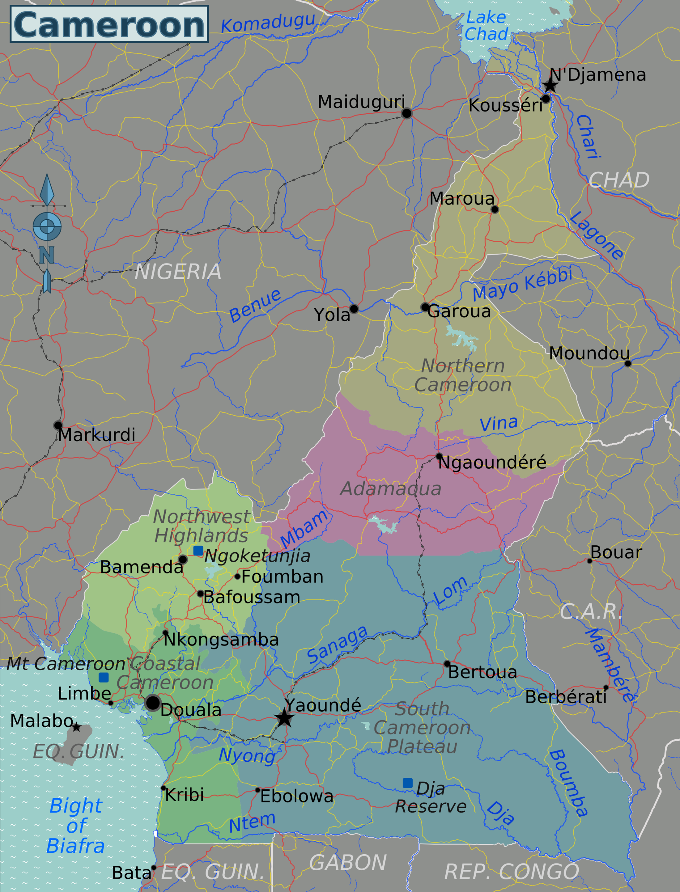Map of Cameroon (Overview Map/Regions) : Weltkarte.com ...