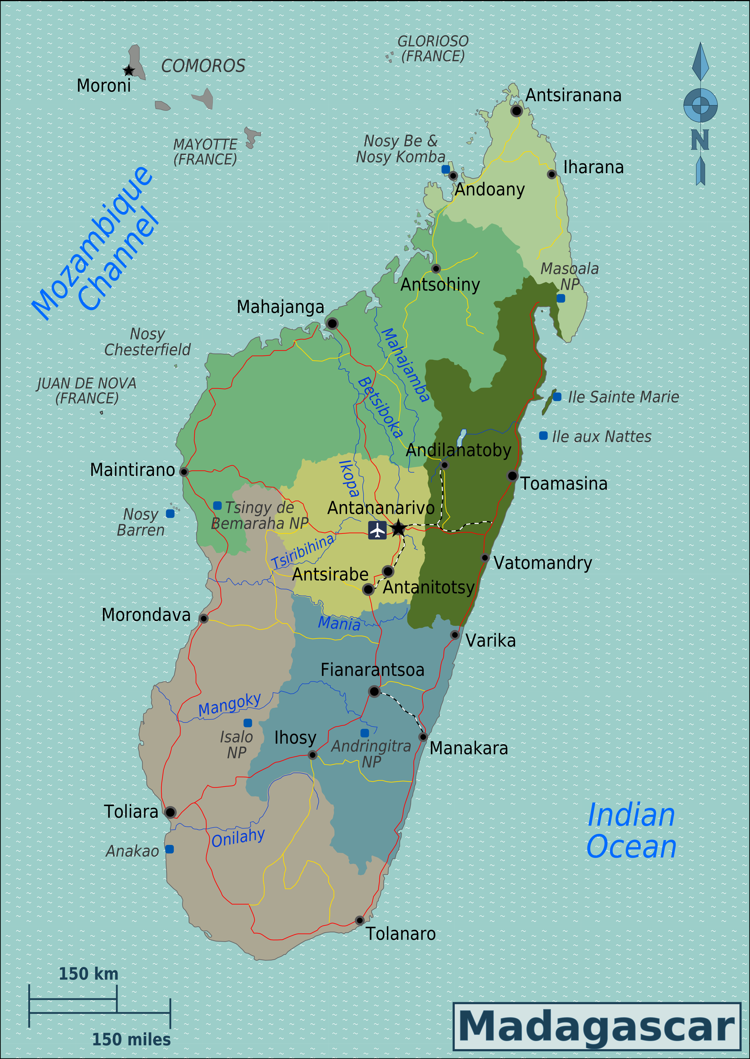 Map of Madagascar (Overview Map/Regions) : Worldofmaps.net ...