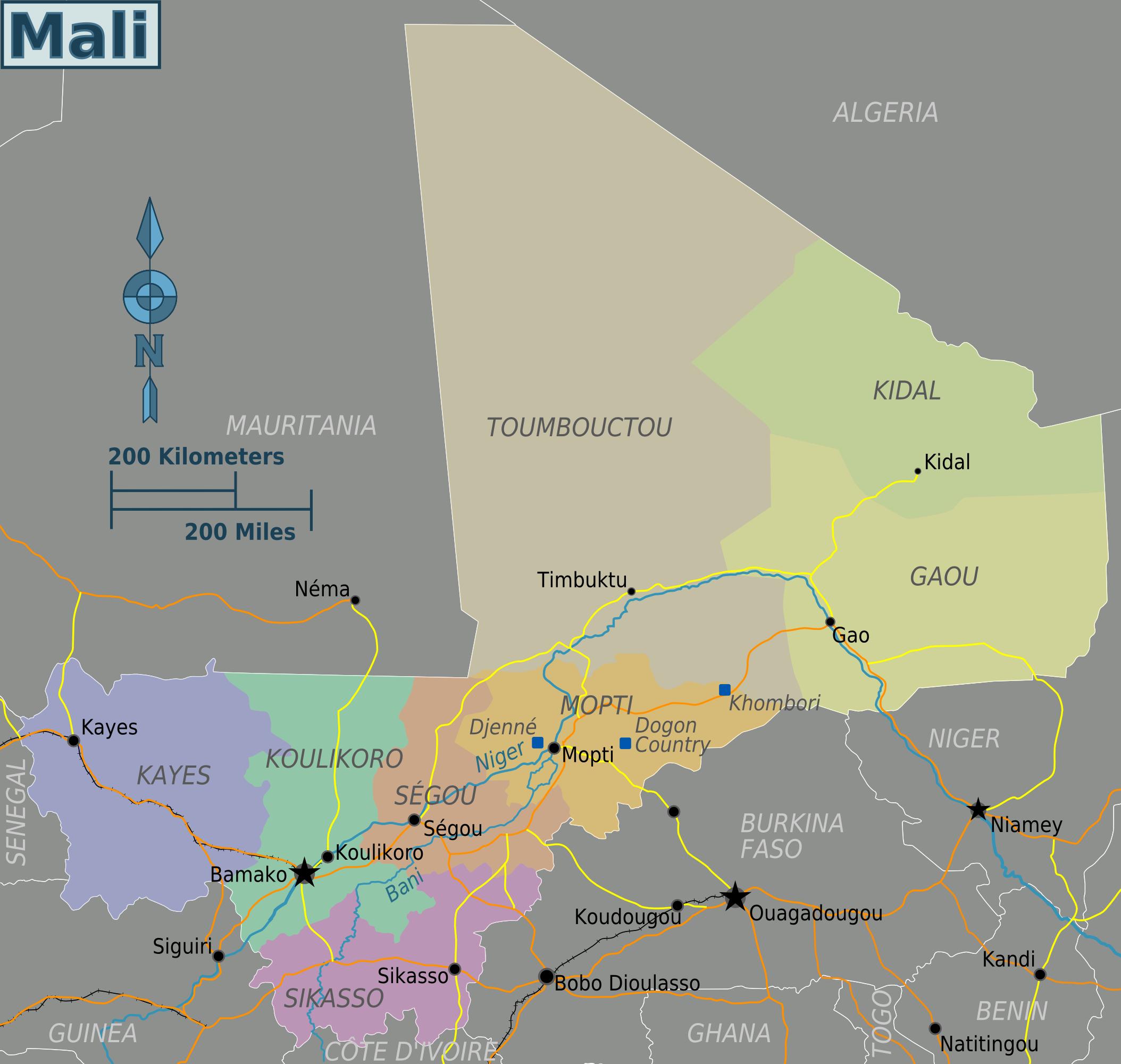 Map of Mali (Map Regions) : Worldofmaps.net - online Maps ...