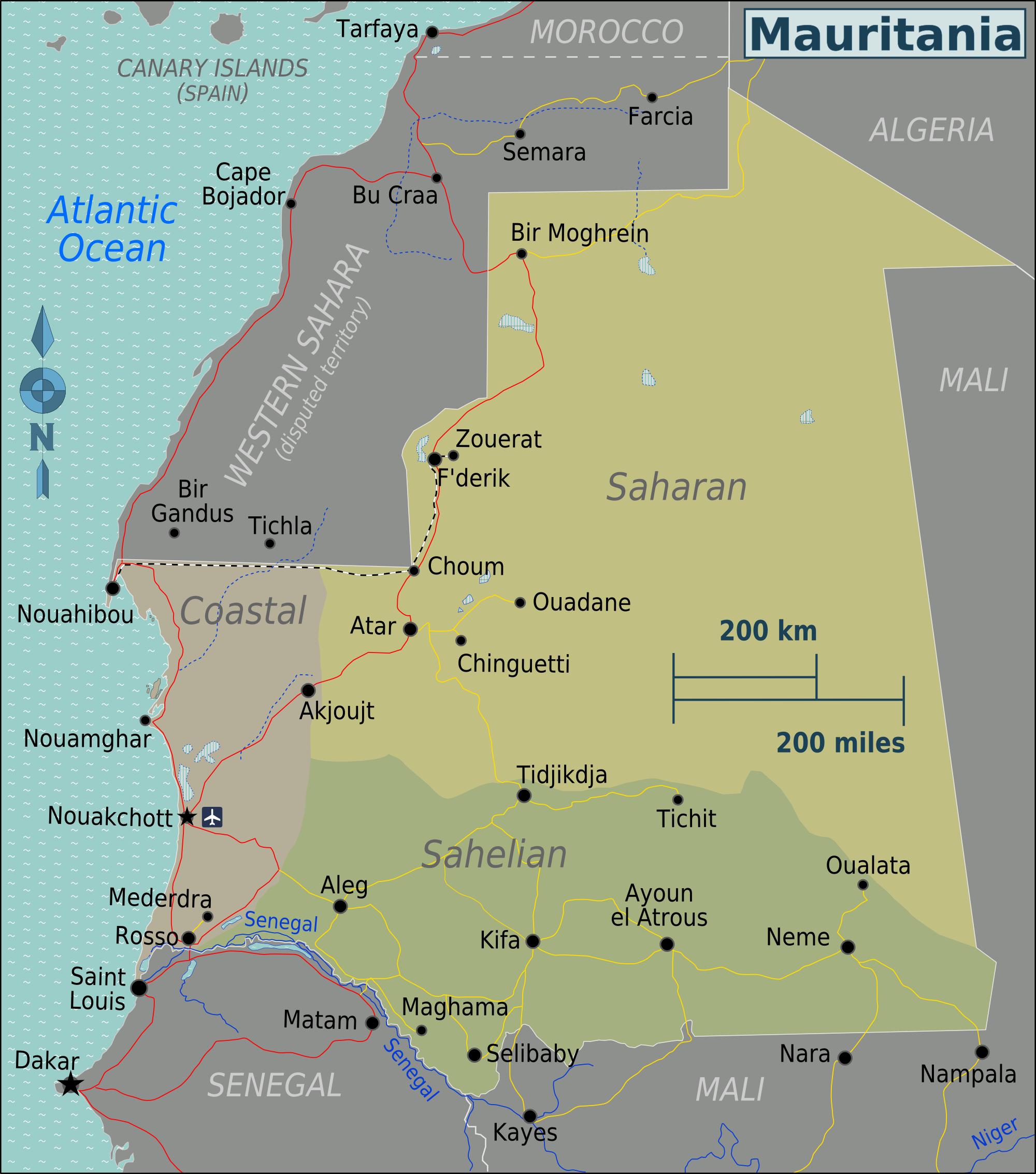Map of Mauritania (Map Regions) : Weltkarte.com - Karten und ...