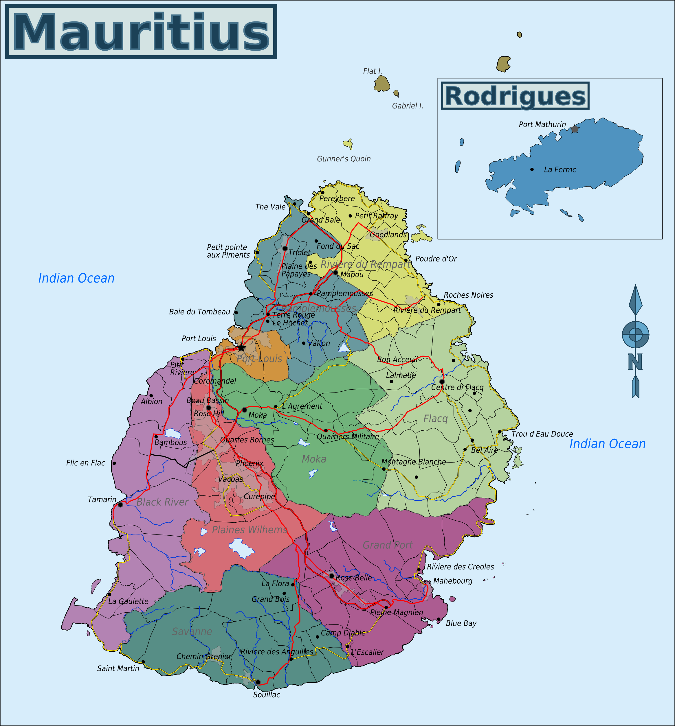 Map of Mauritius(Overview Map/Regions) : Weltkarte.com - Karten und ...