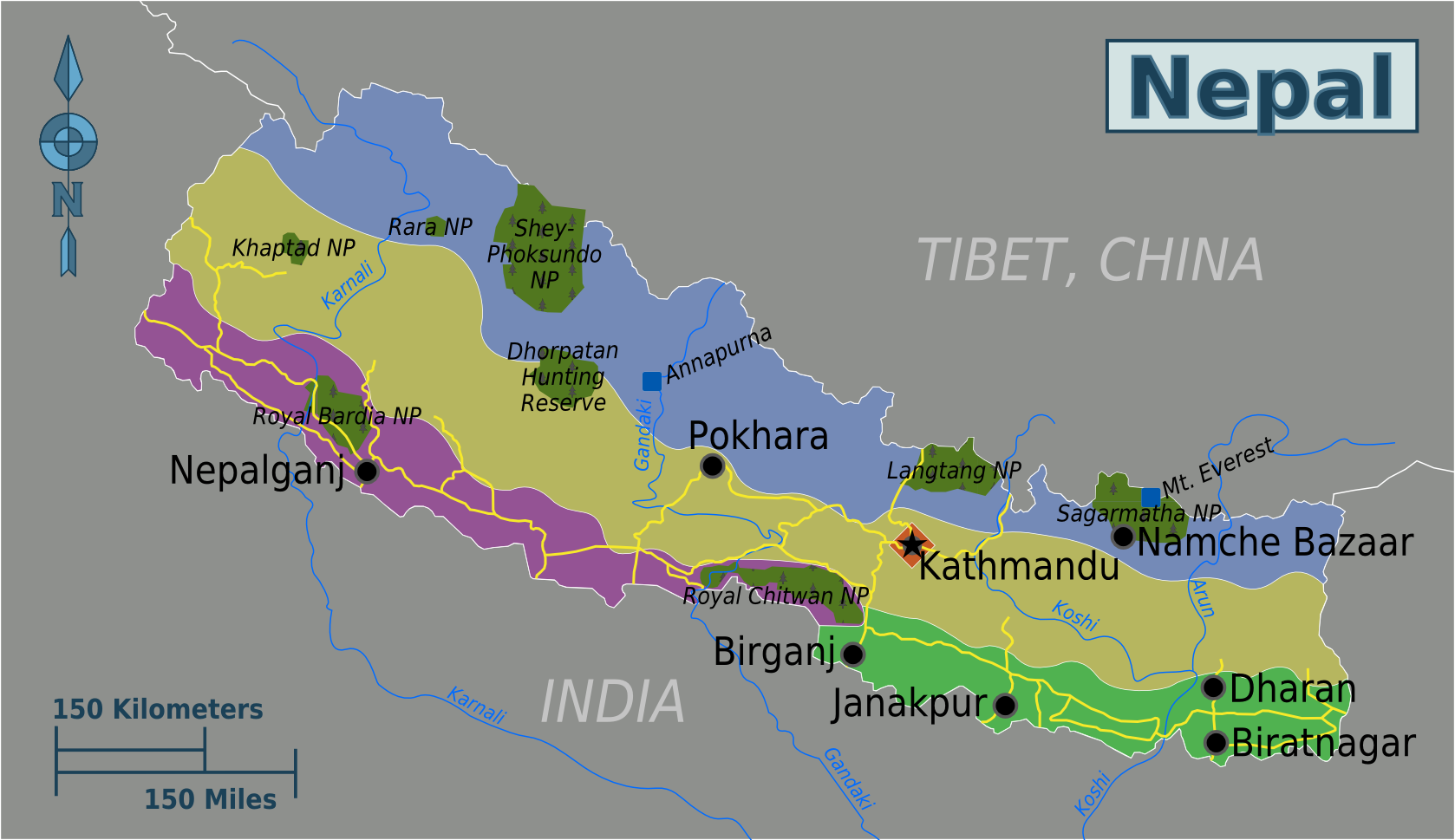 Nepal Karte Download.Map Of Nepal Map Regions Worldofmaps Net Online Maps