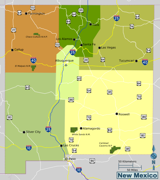 Map of New Mexico (Overview Map/Regions) : Worldofmaps.net - online ...