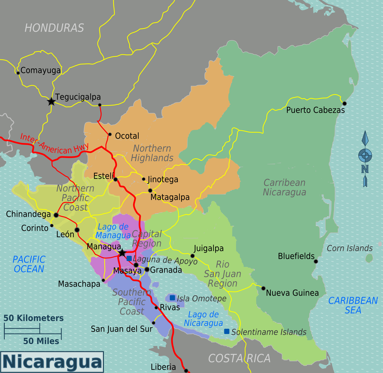 Map of Nicaragua (Overview Map/Regions) : Worldofmaps.net - online ...