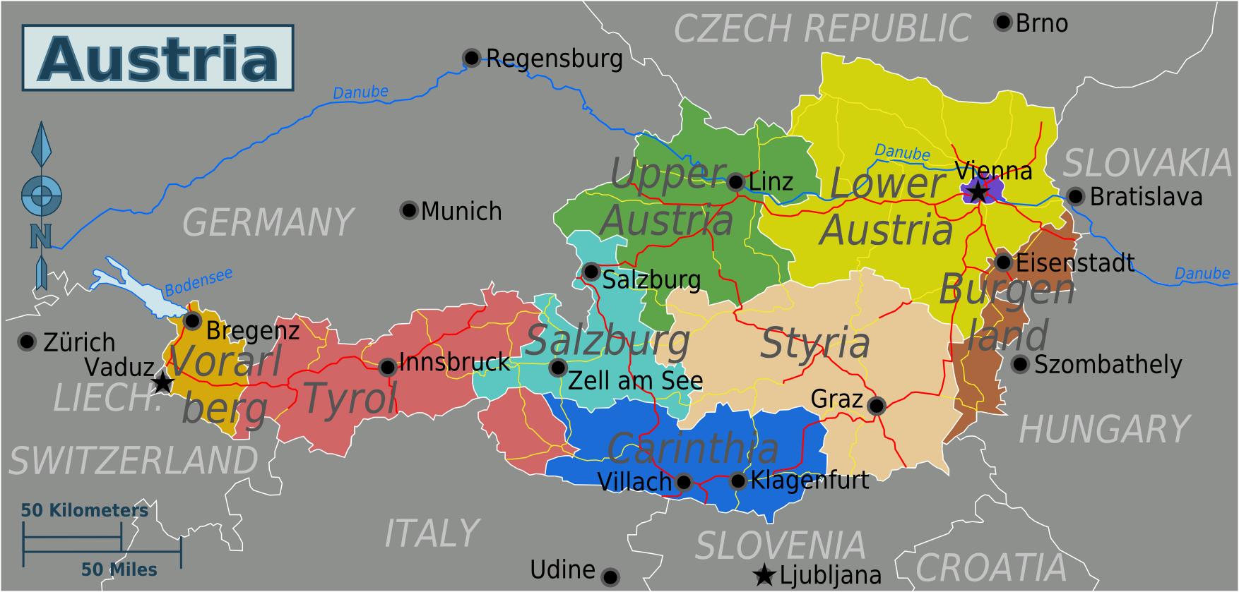 Map of Austria (Regions) : Weltkarte.com - Karten und ...