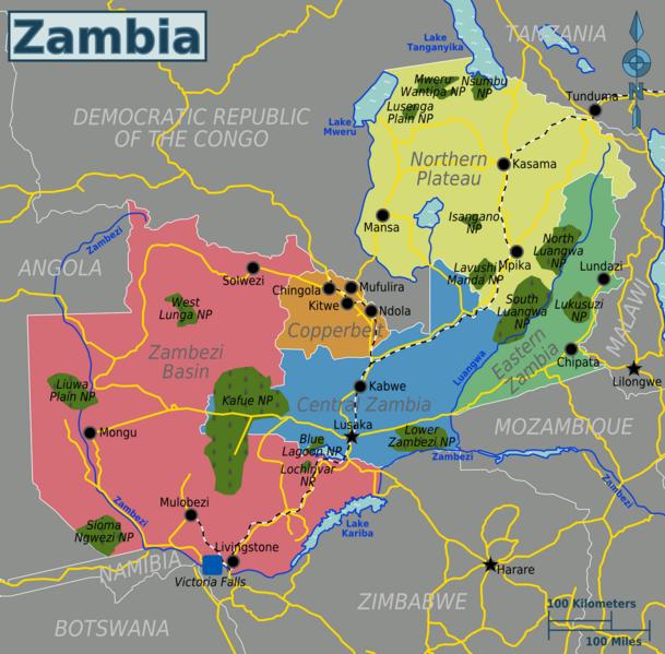 Map of Zambia (Map Regions) : Weltkarte.com - Karten und Stadtpläne ...