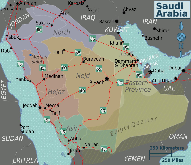 Map of Saudi Arabia (Regional Map) : Worldofmaps.net - online Maps ...