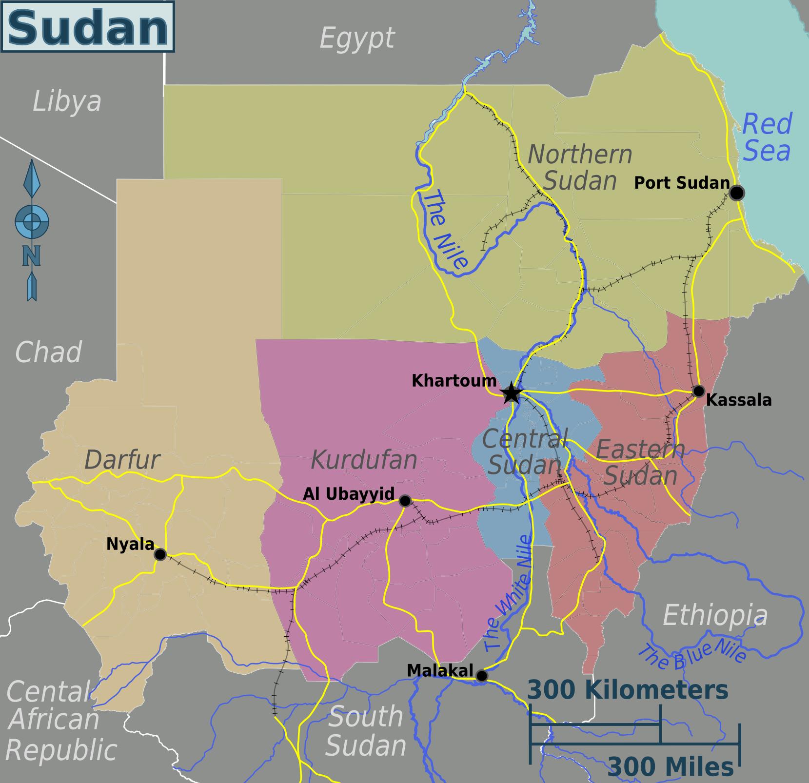 Map of Sudan (Overview Map/Regions) : Worldofmaps.net - online Maps ...