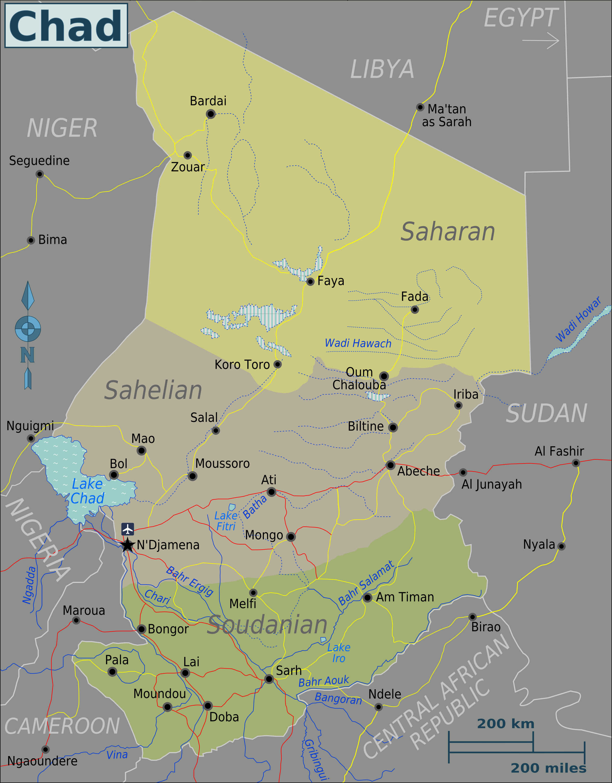 Map fo Chad (Map Regions) : Worldofmaps.net - online Maps ...