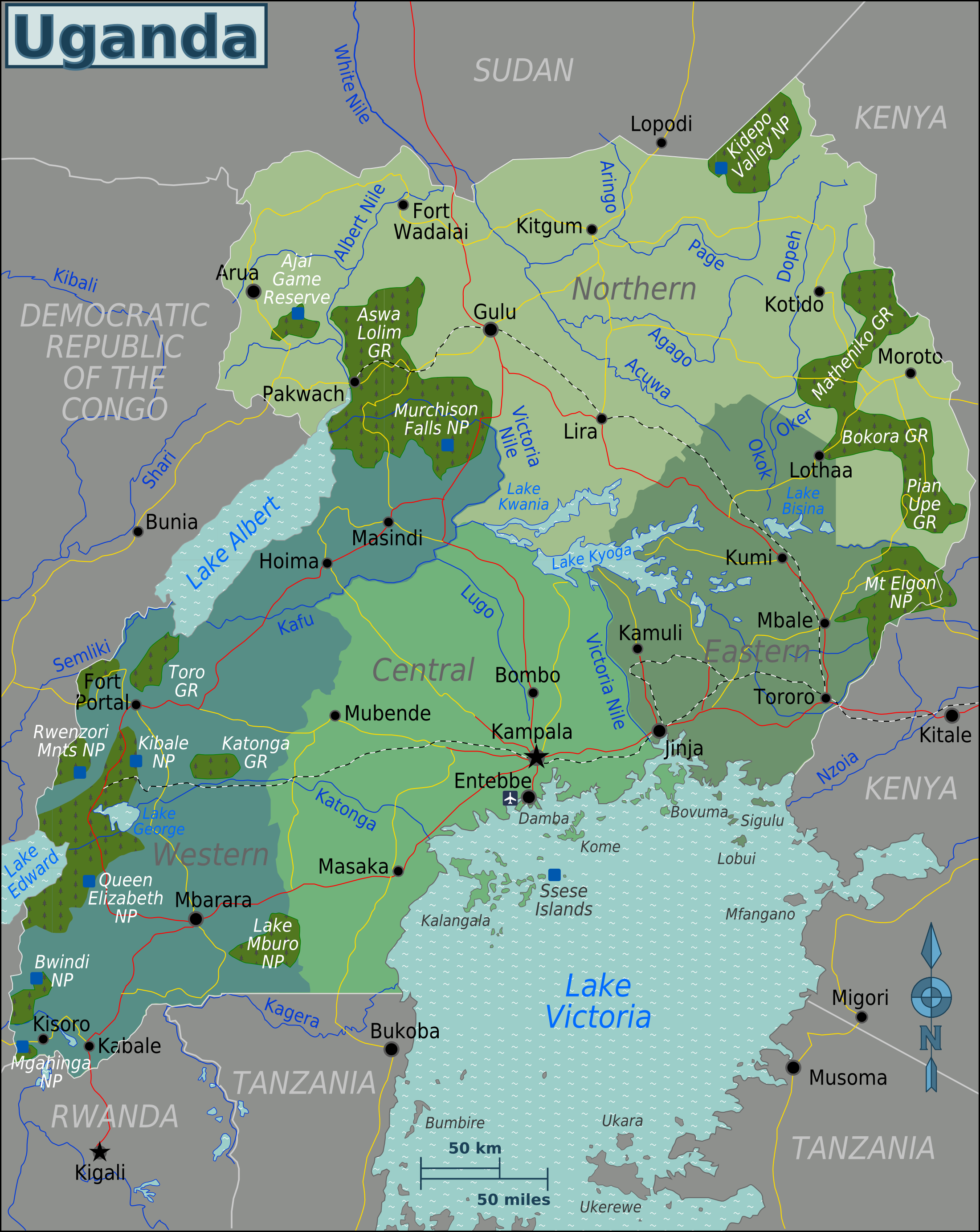 Map of Uganda (Overview Map/Regions) : Worldofmaps.net - online Maps ...