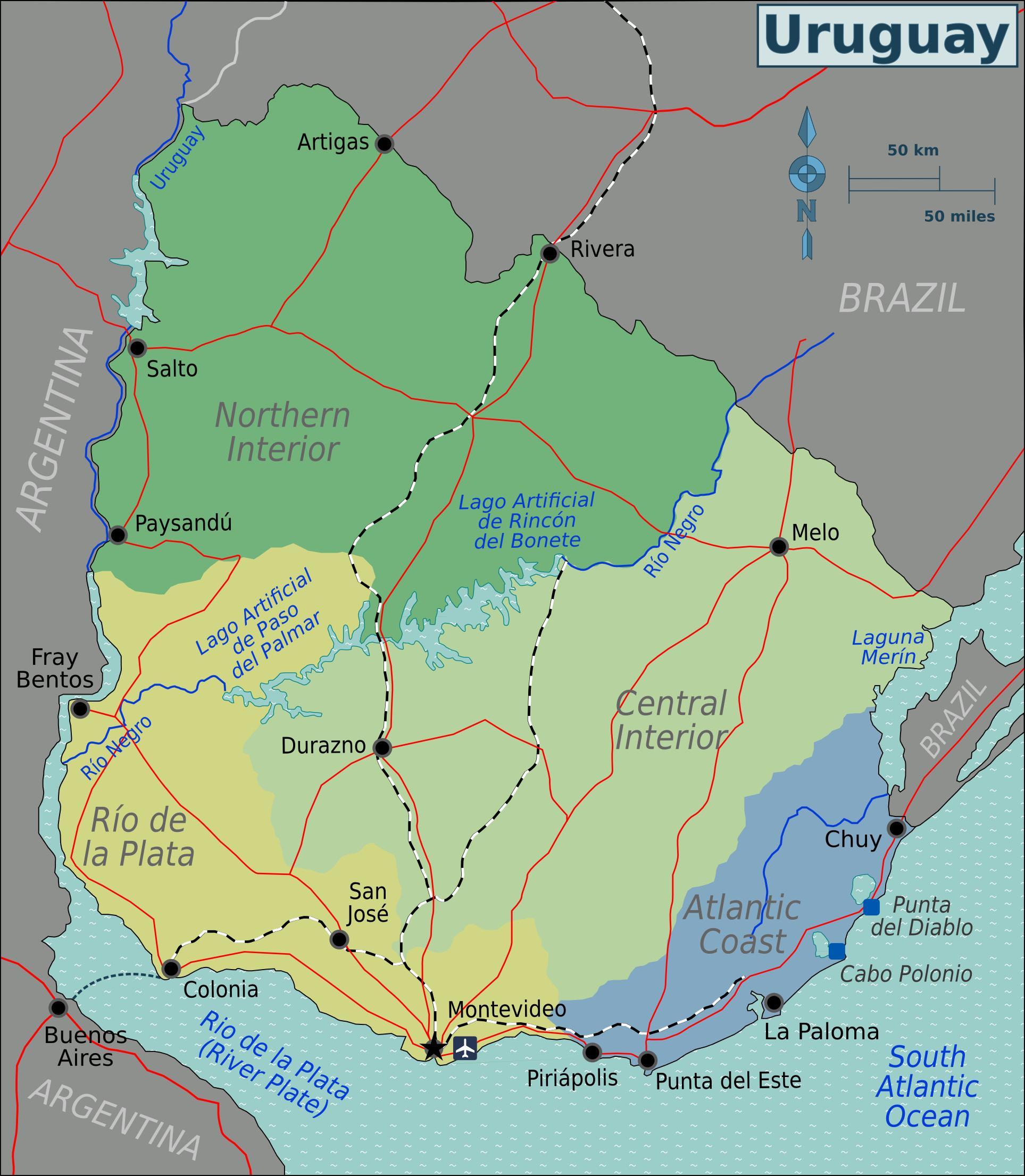 Map Of Uruguay Overview Map Regions Weltkarte Com Karten Und