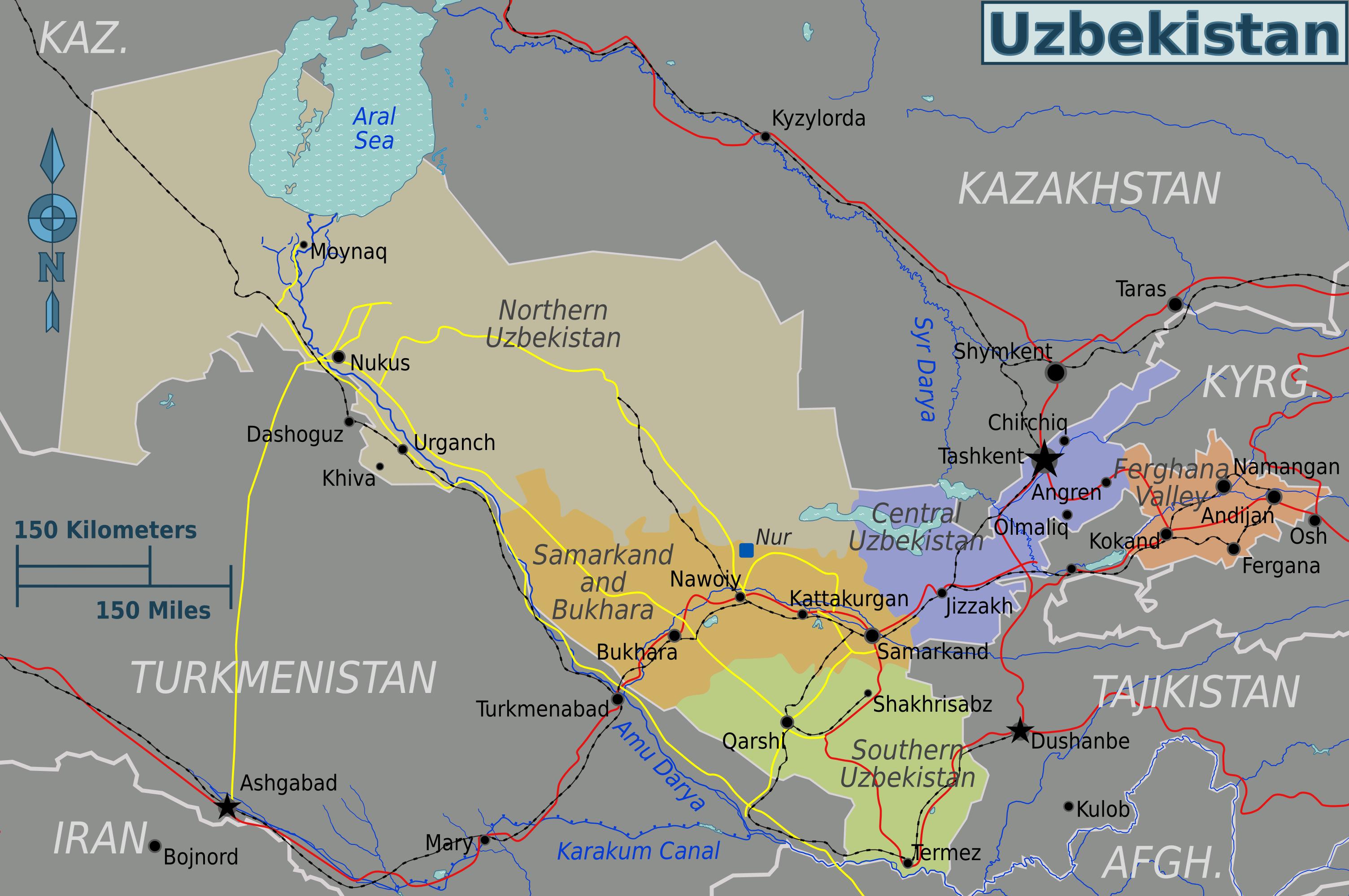 Map Of Uzbekistan Regions Worldofmapsnet Online Maps And - Uzbekistan interactive map