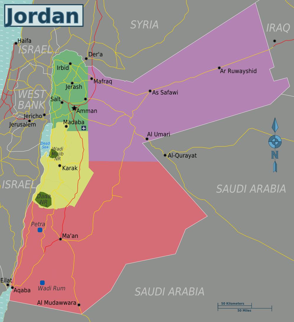Map Of Jordan Regions Weltkarte Com Karten Und Stadtplane