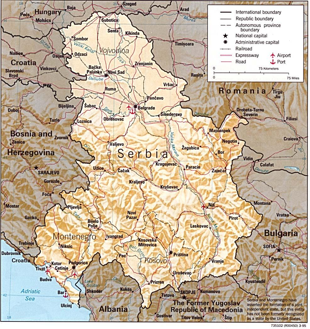 Bar Montenegro Karte.Map Of Serbia And Montenegro Relief Map Worldofmaps Net