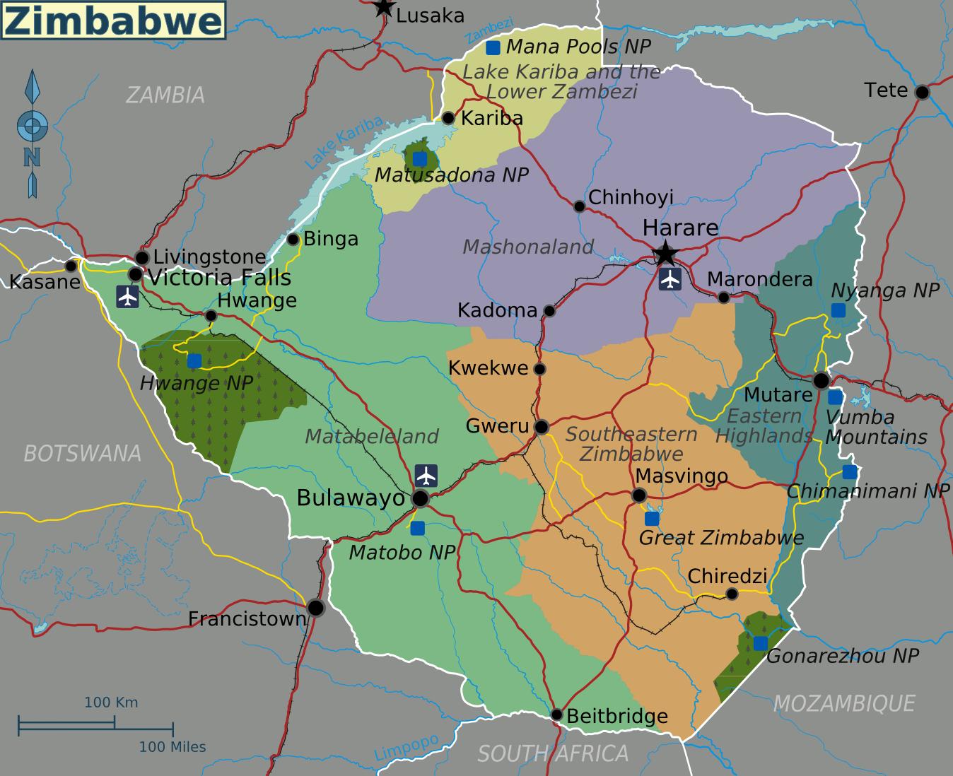 Map of Zimbabwe (Ove
