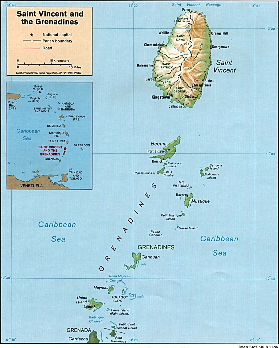 Maps of Saint Vincent and the Grenadines (Relief Map) : Worldofmaps ...
