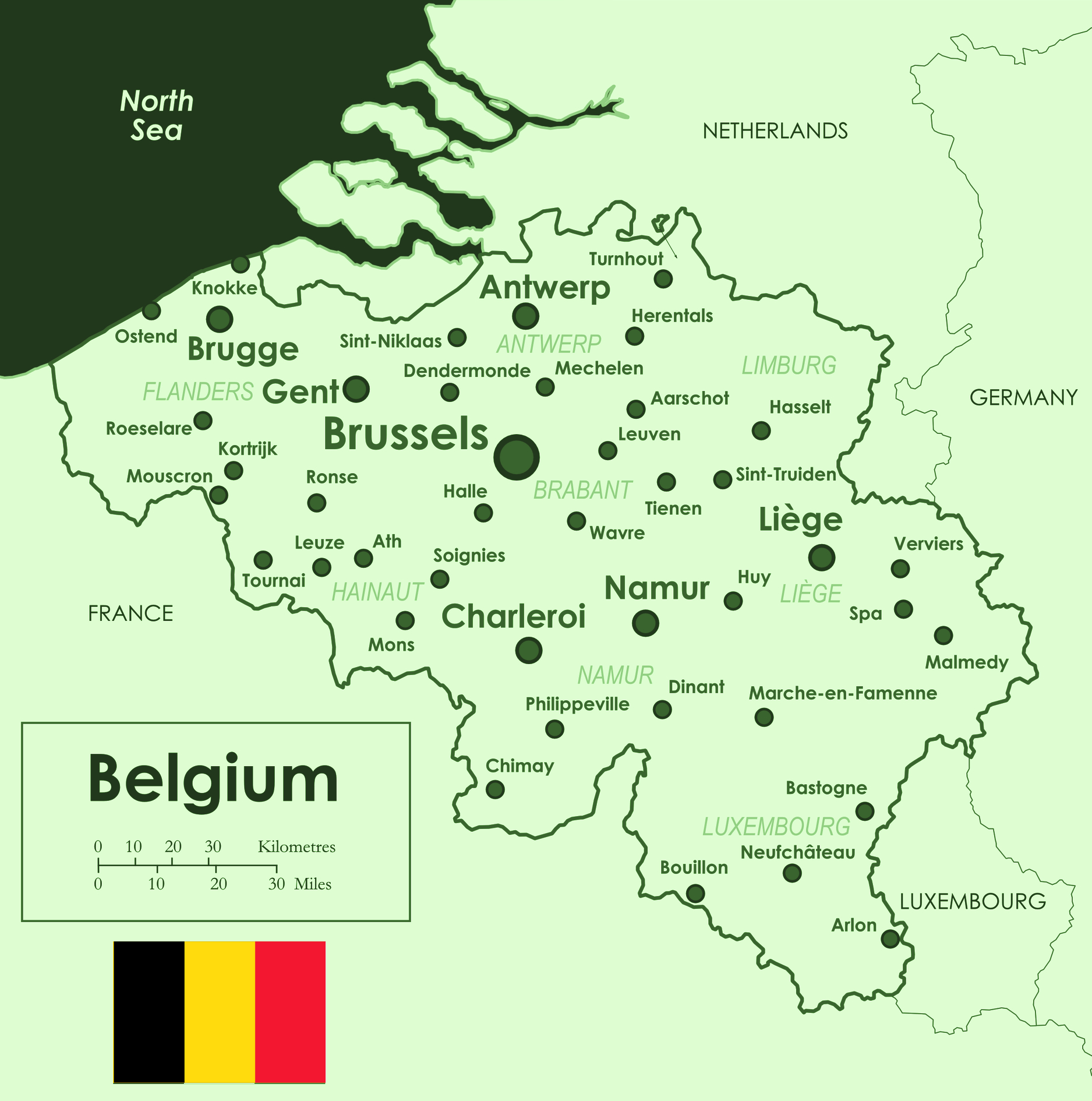 Map of Belgium (Overview Map/Cities) : Worldofmaps.net - online Maps ...