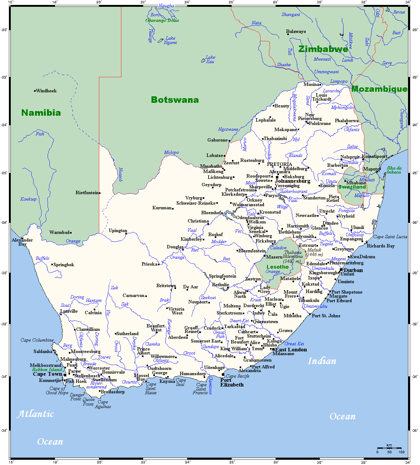 Map of South Africa Overview Map Cities and Towns onlin