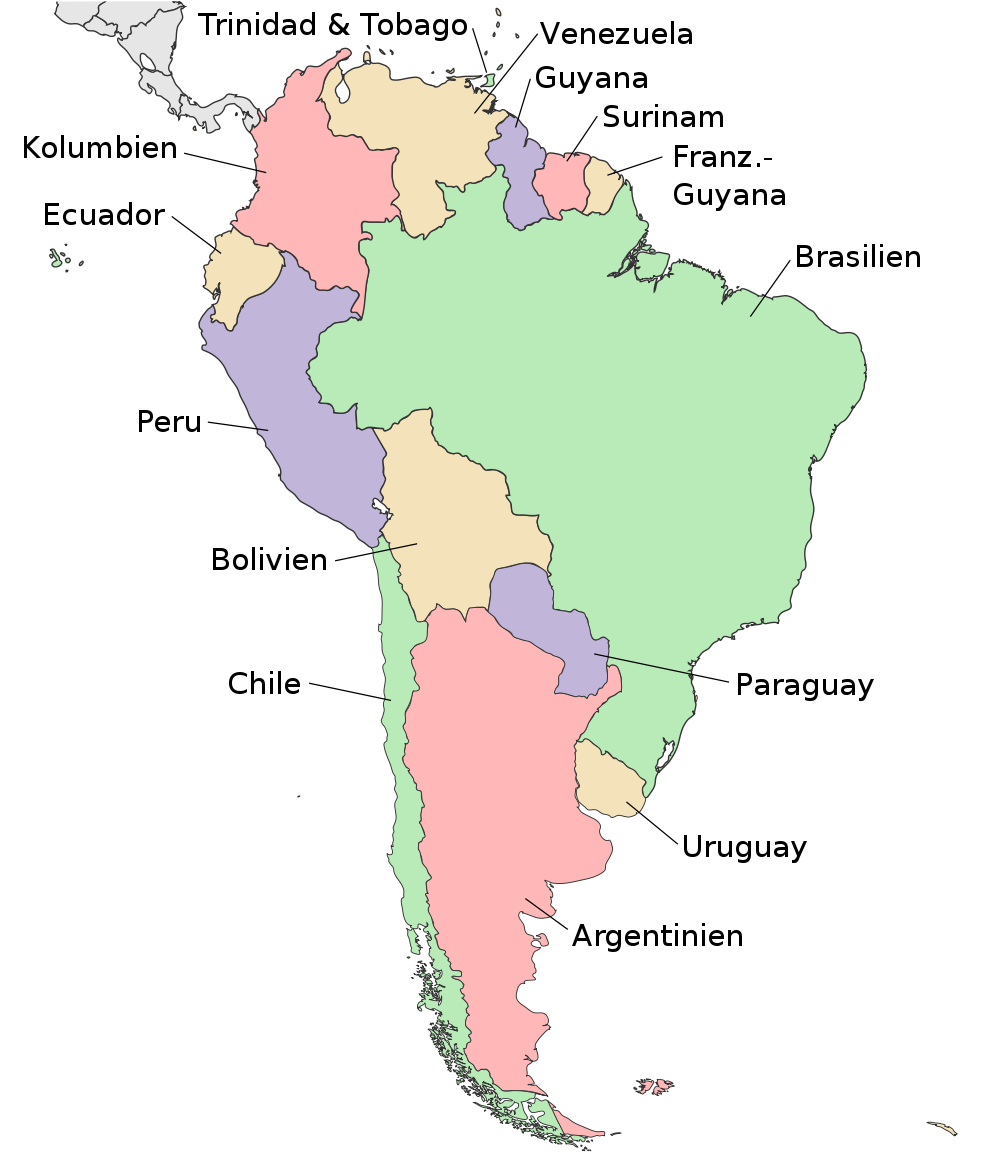 Map of South America (Political Map, German, large) : Worldofmaps ...